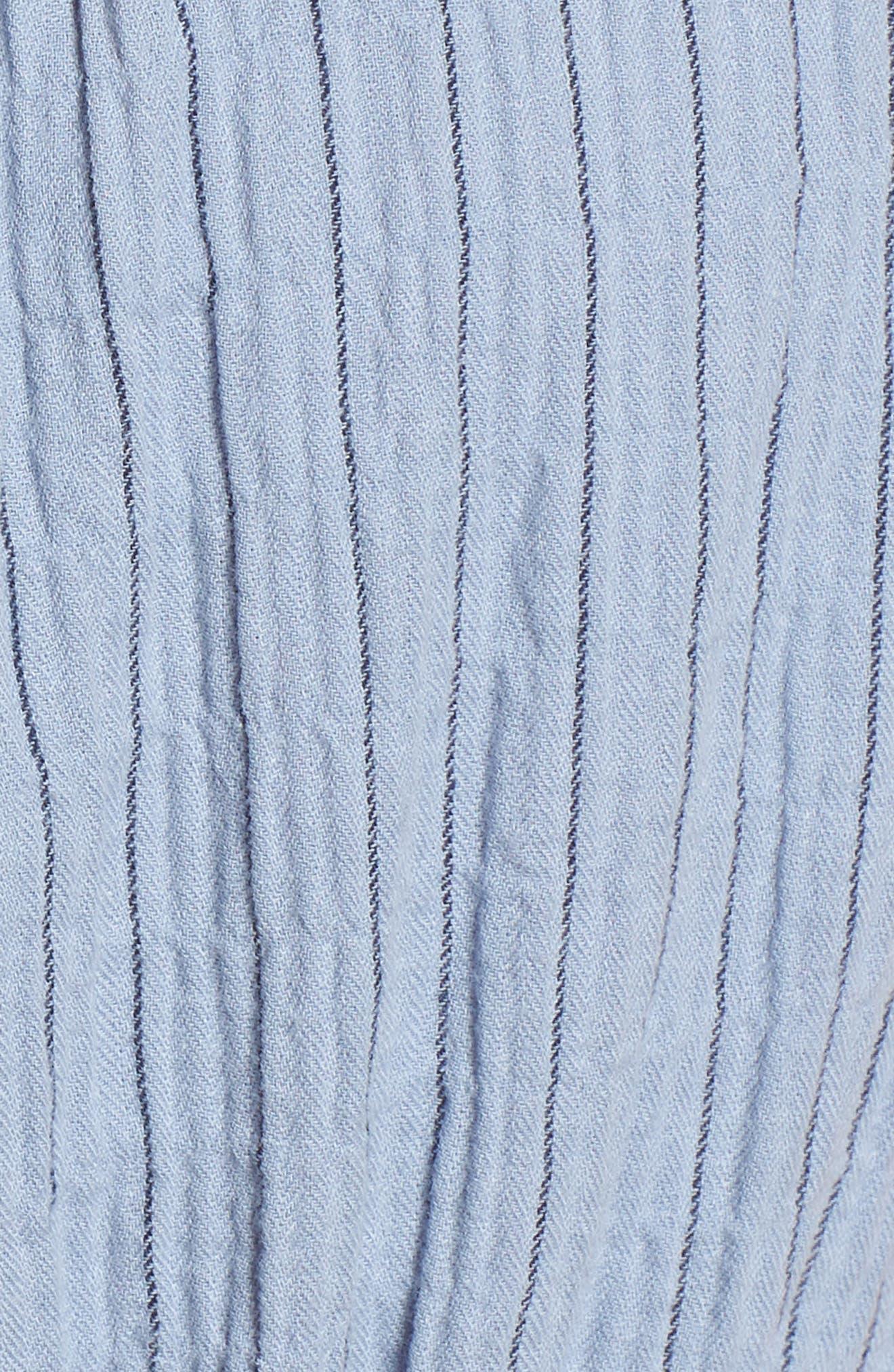 Sky Stripe Tie Sleeve Dress,                             Alternate thumbnail 6, color,                             Blue