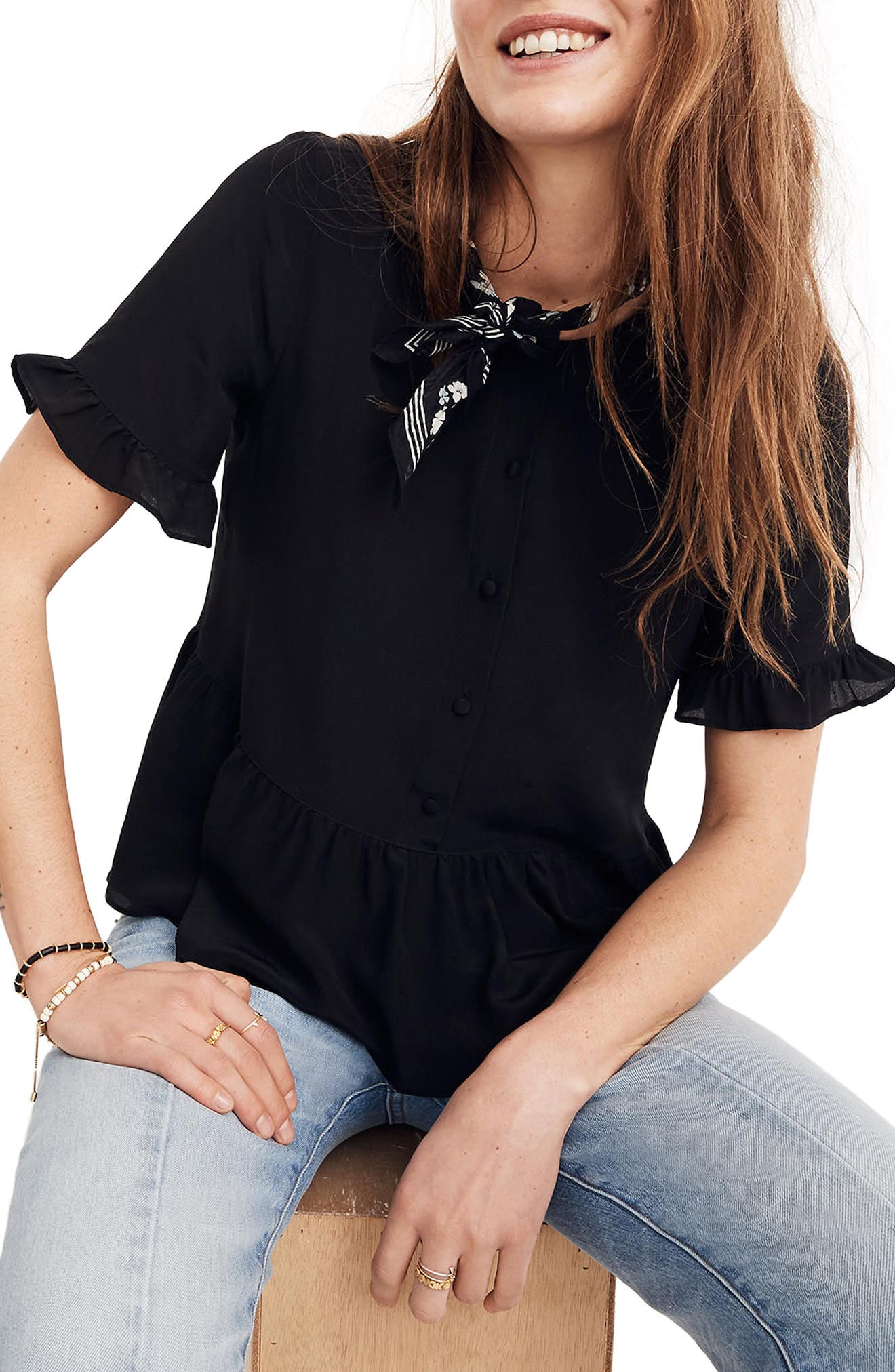 Studio Ruffle Hem Silk Top,                         Main,                         color, True Black