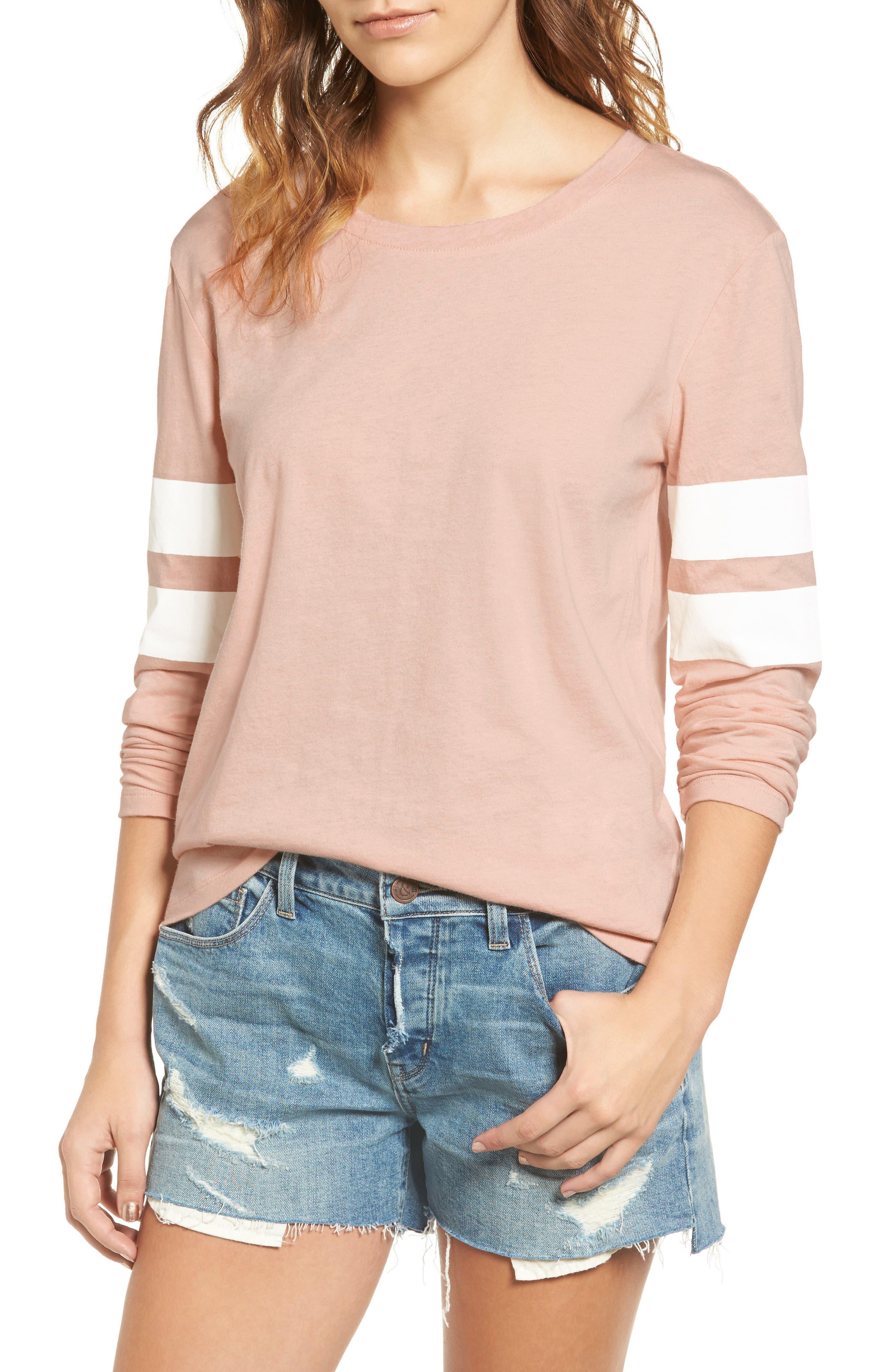 Varsity Stripe Cotton Tee,                             Main thumbnail 1, color,                             Pink Combo