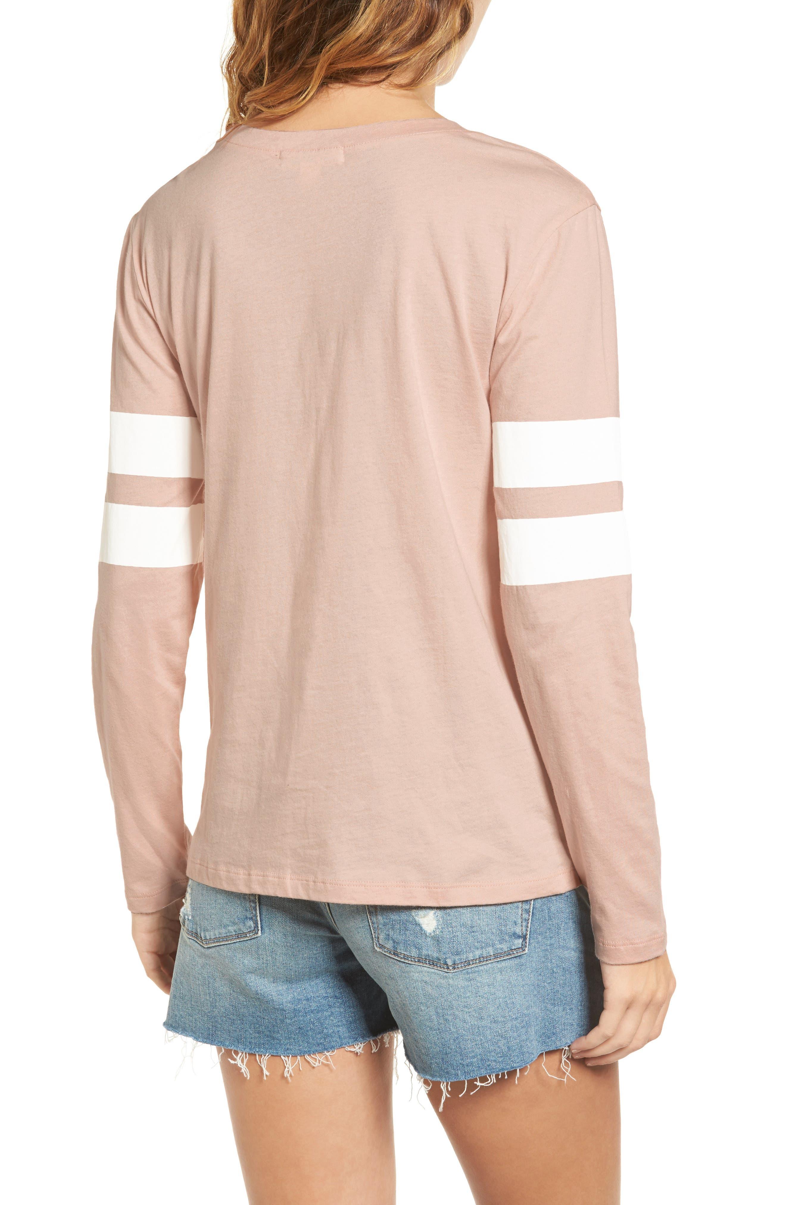 Varsity Stripe Cotton Tee,                             Alternate thumbnail 2, color,                             Pink Combo