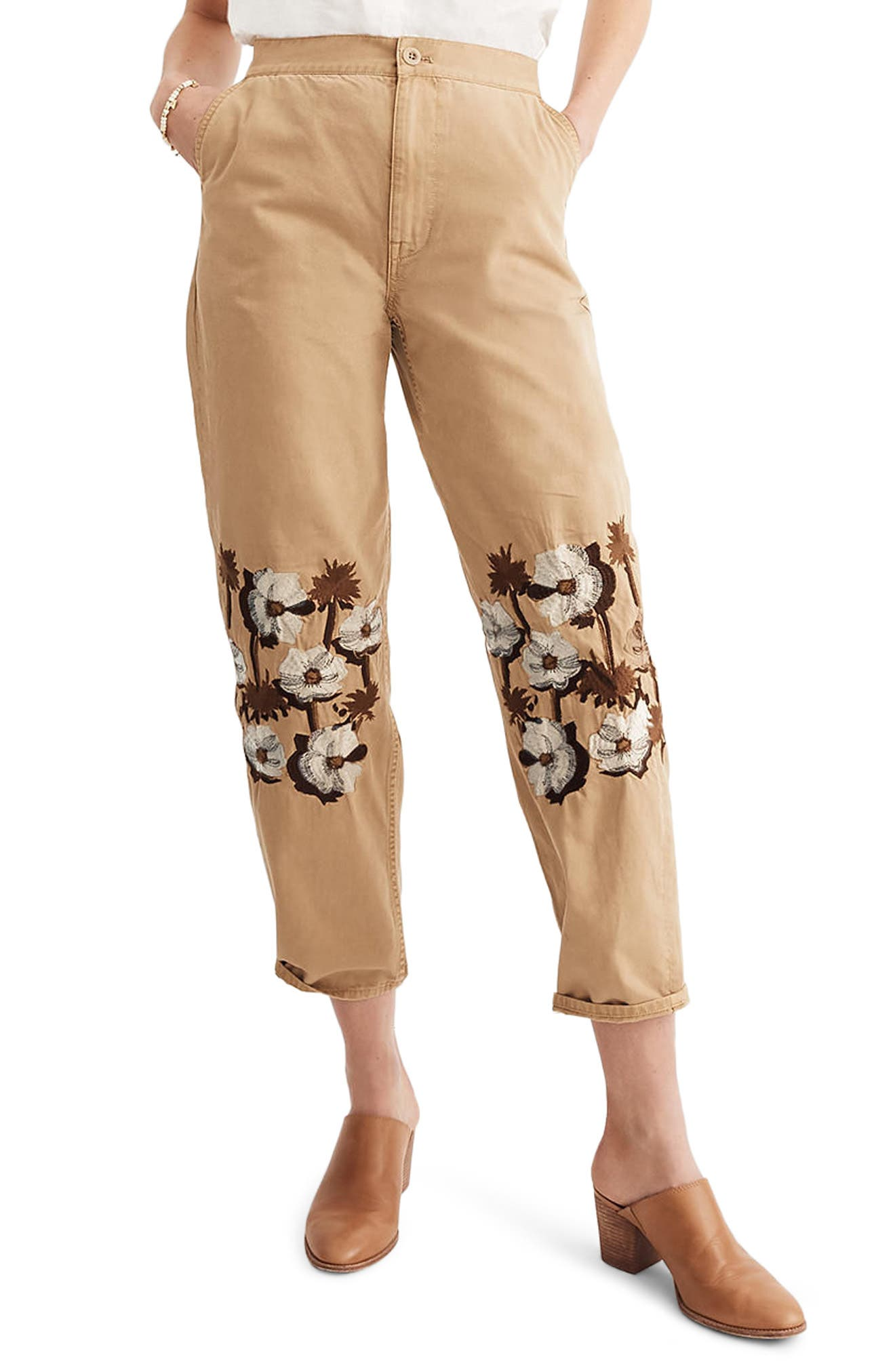 Embroidered Tapered Crop Pants,                         Main,                         color, Honey Brown
