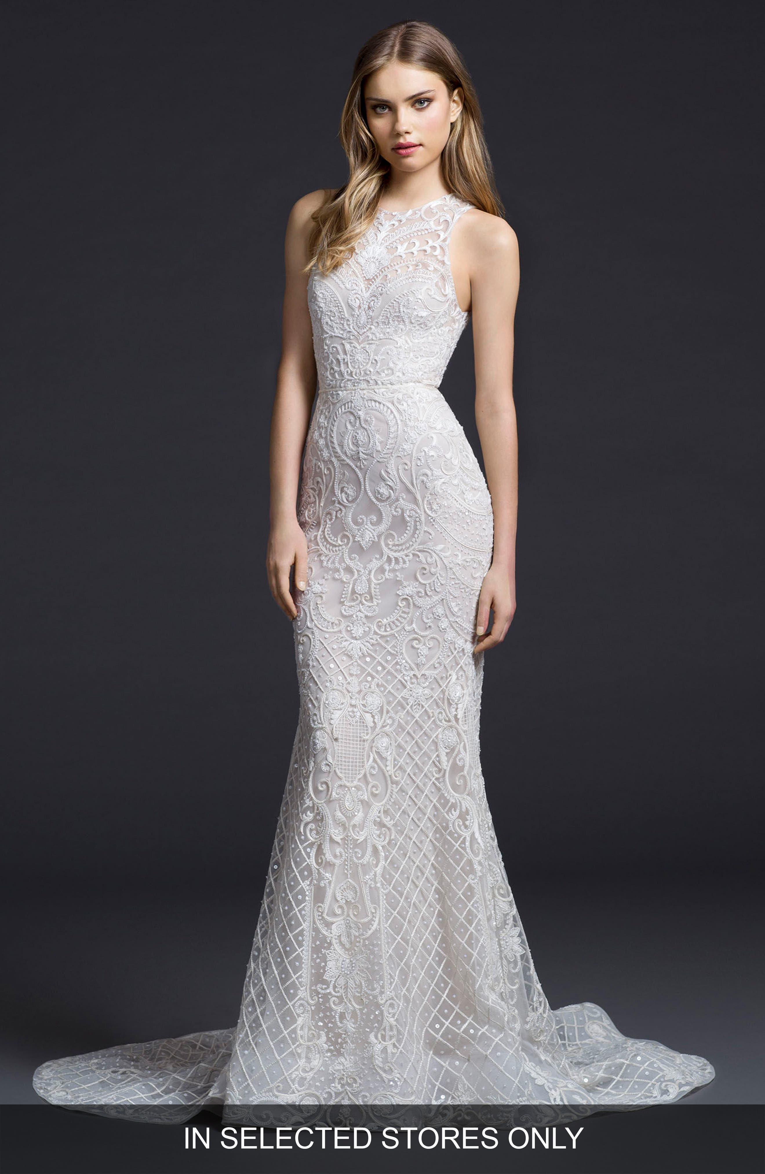 Embroidered Chiffon Trumpet Gown,                             Main thumbnail 1, color,                             Ivory/ Cashmere