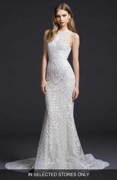 Lazaro Embroidered Chiffon Trumpet Gown