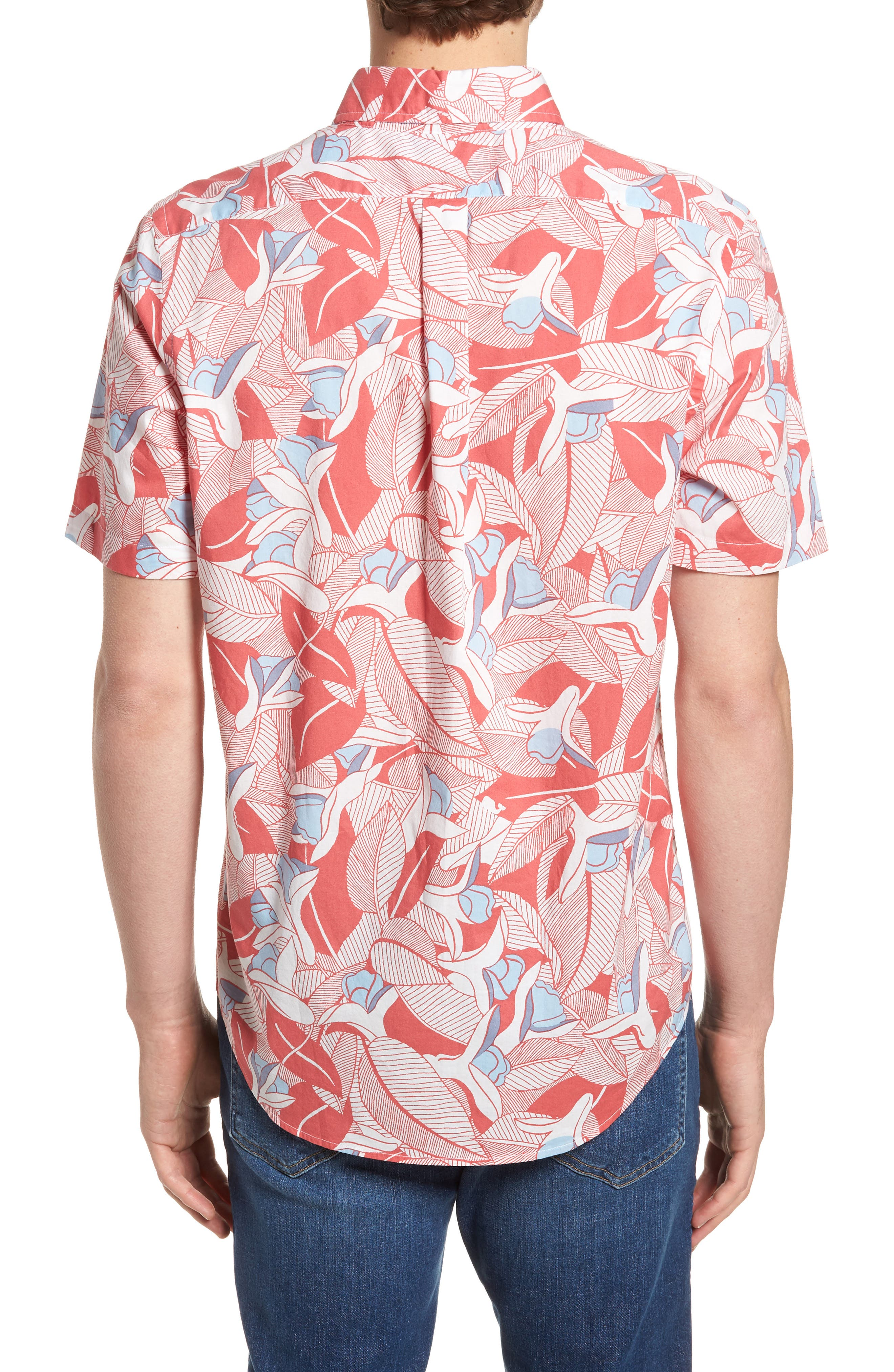 Flowers & Leaves Classic Fit Print Short Sleeve Sport Shirt,                             Alternate thumbnail 2, color,                             Jetty Red