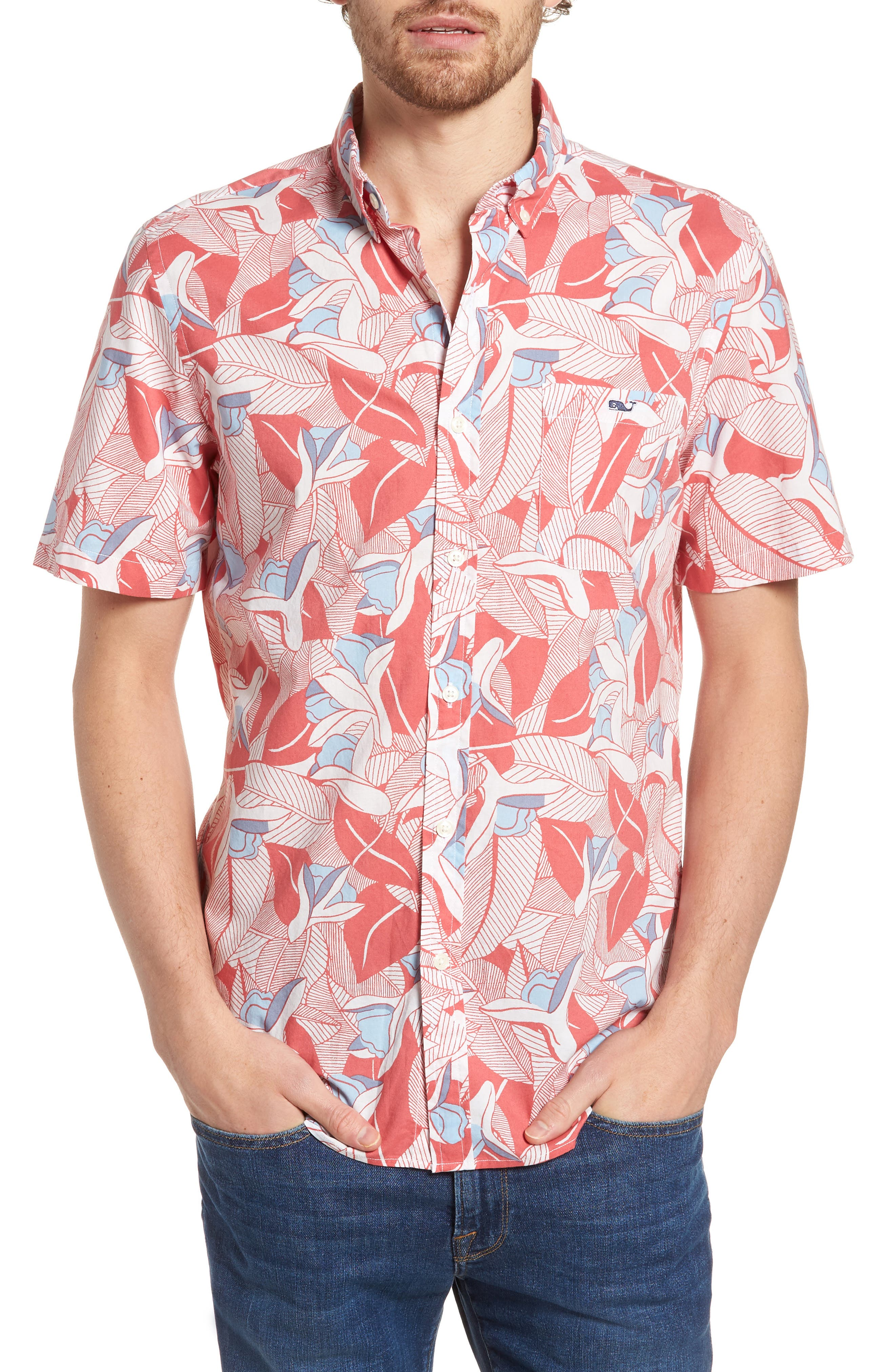 Flowers & Leaves Classic Fit Print Short Sleeve Sport Shirt,                         Main,                         color, Jetty Red