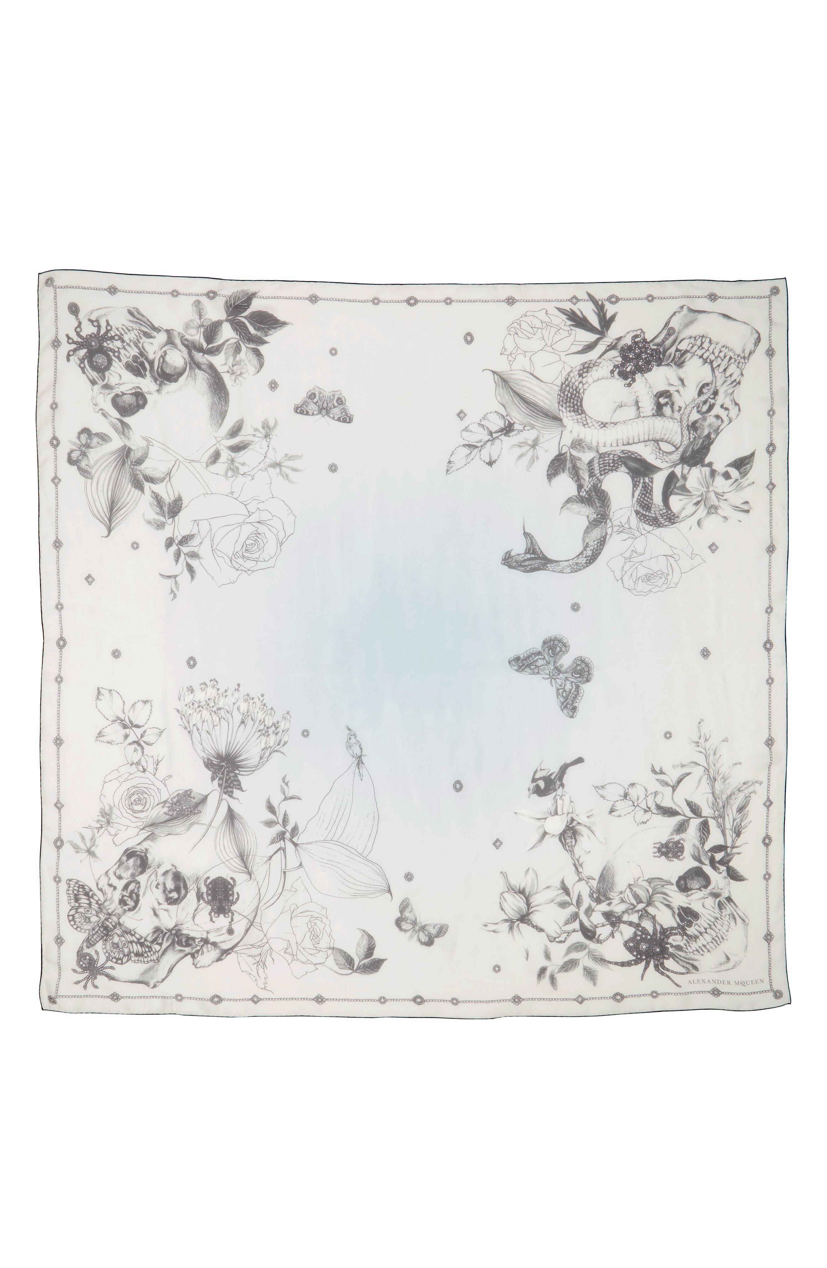 Alexander McQueen Wild Botanical Skulls Silk Scarf