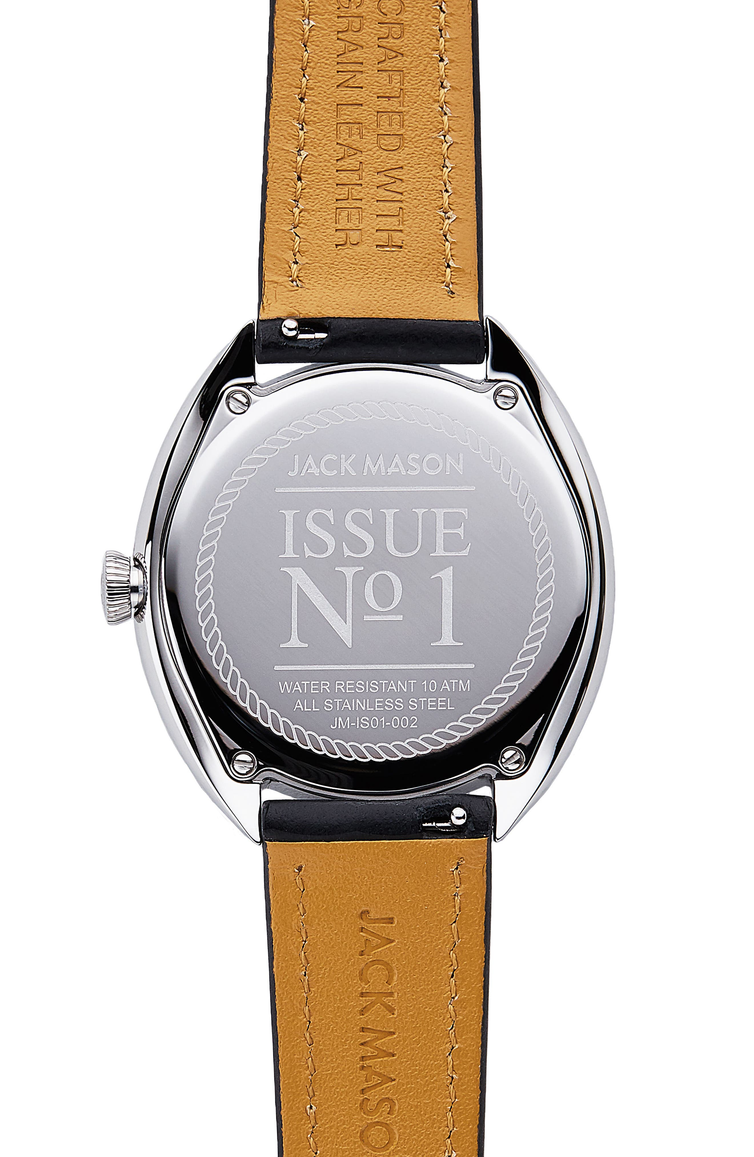 Issue No. 1 Leather Strap Watch, 41mm,                             Alternate thumbnail 3, color,                             Black/ Mop/ Silver