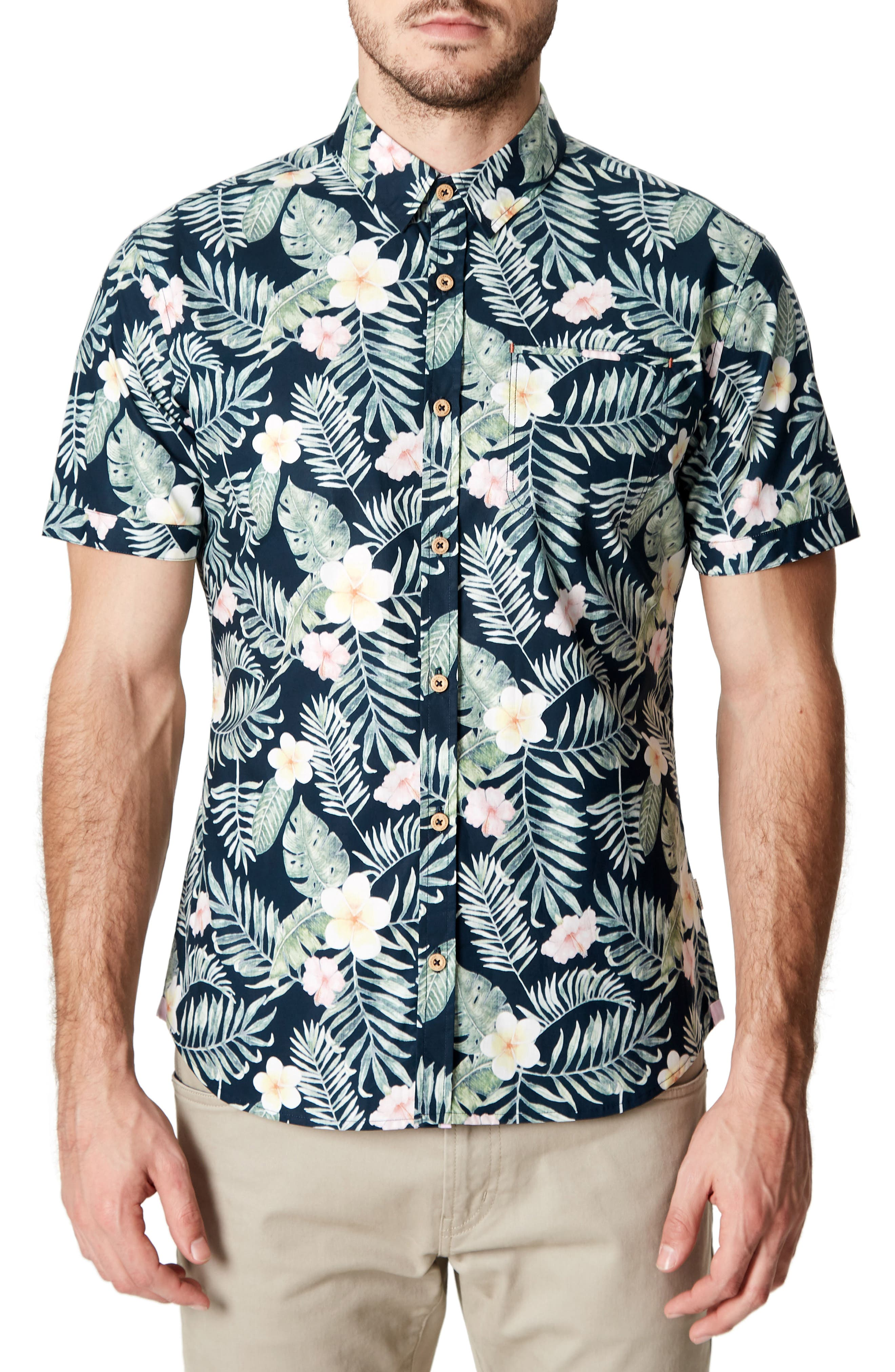 Zanzibar Trim Fit Short Sleeve Sport Shirt,                         Main,                         color, Black