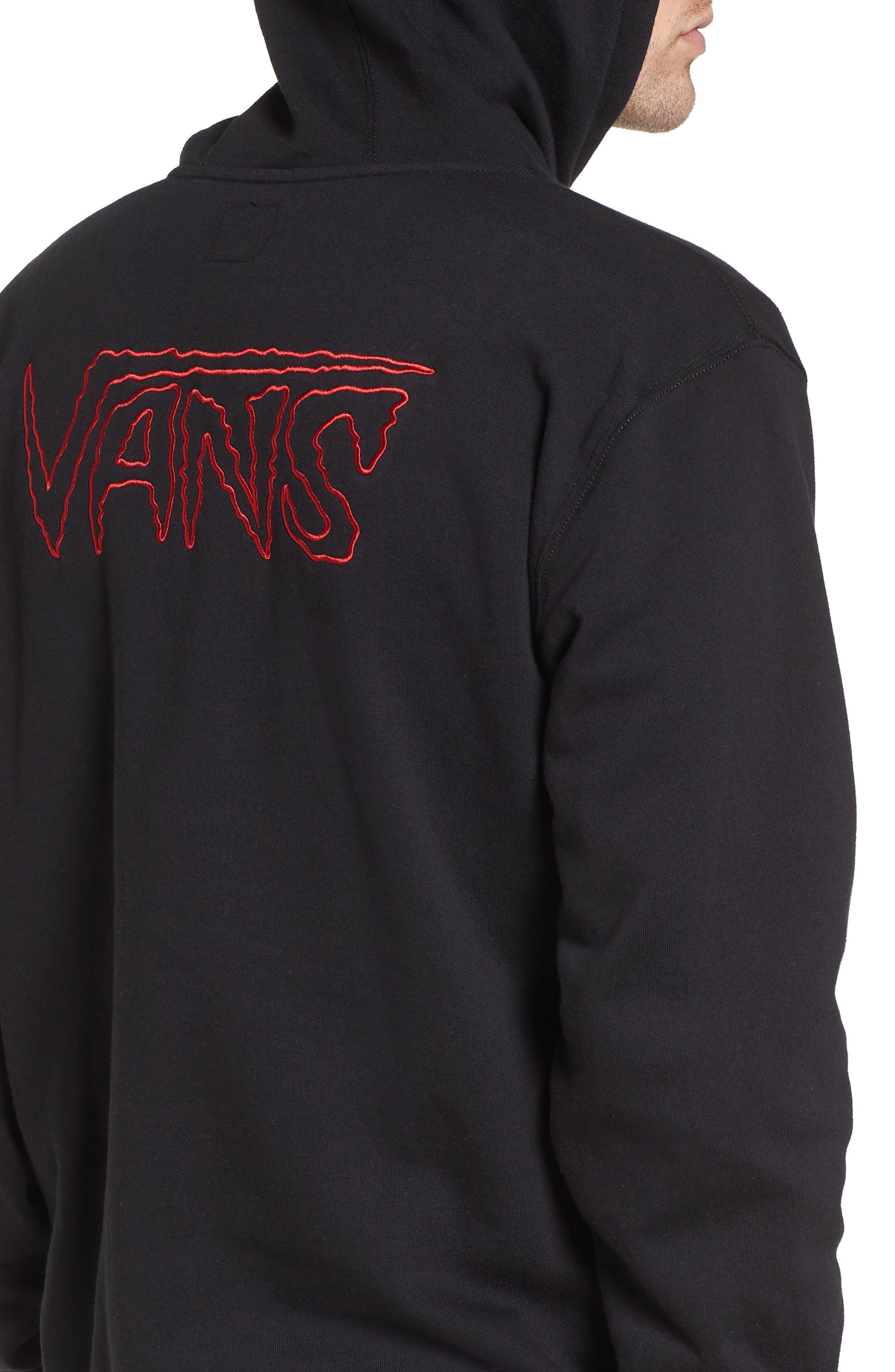 Sketch Tape Hoodie Sweatshirt,                             Alternate thumbnail 4, color,                             Black