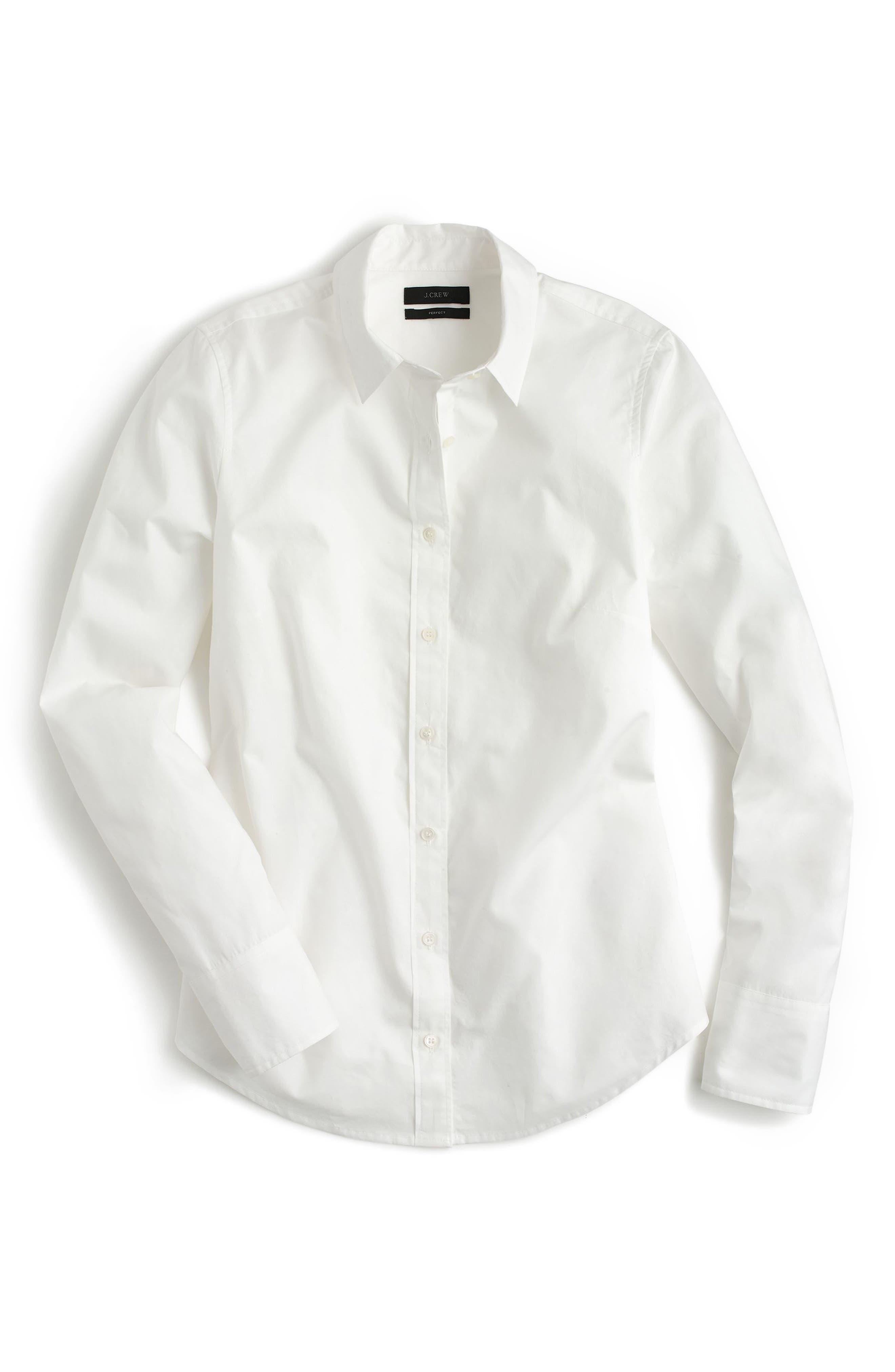 J.Crew New Perfect Cotton Poplin Shirt,                             Alternate thumbnail 3, color,                             White