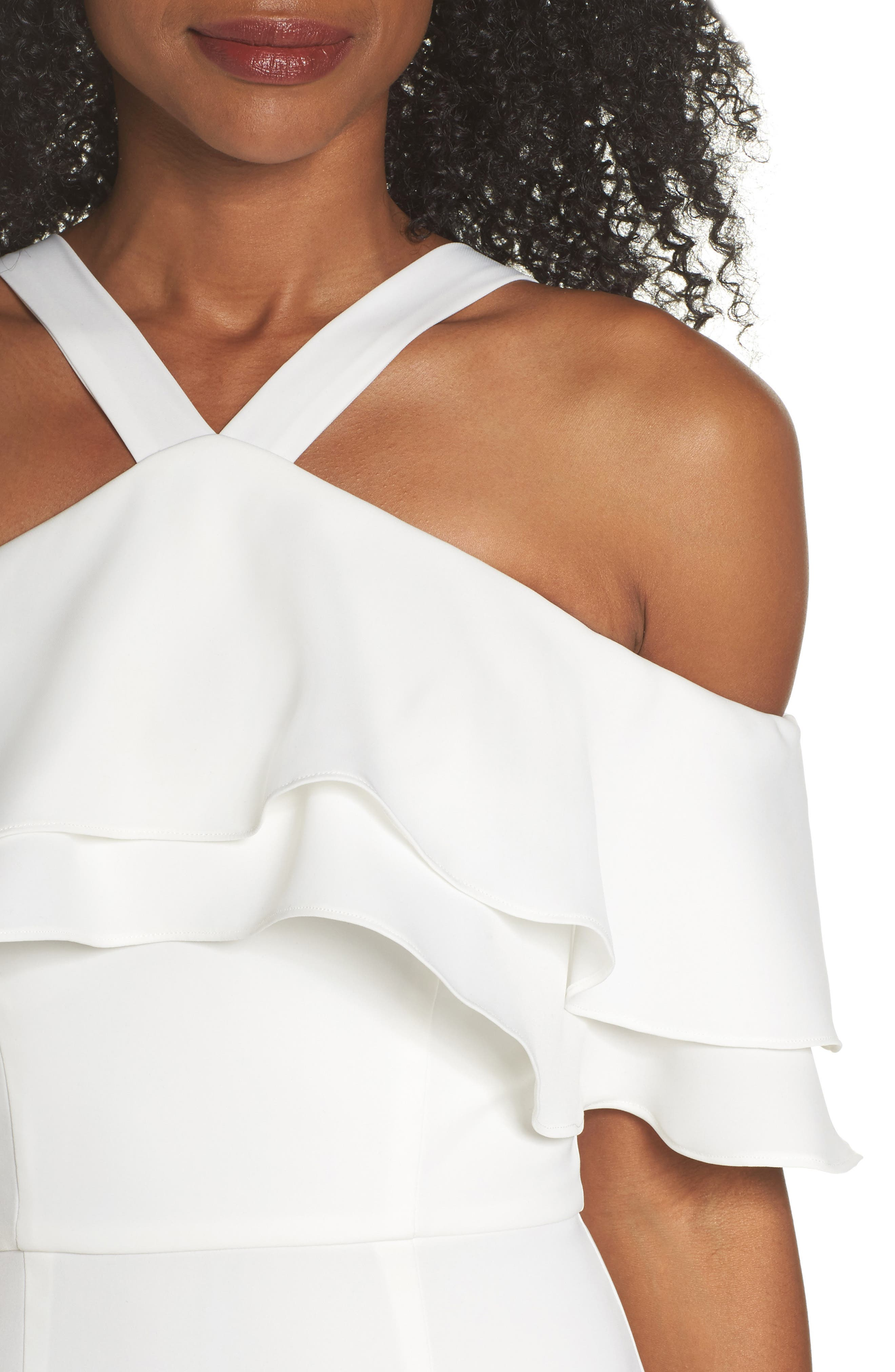 Dianne Ruffle Top Halter Gown,                             Alternate thumbnail 4, color,                             White