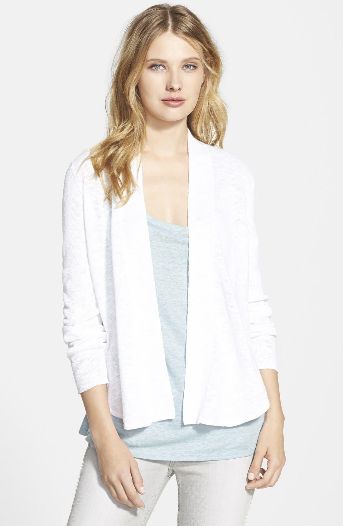 Main Image - Eileen Fisher Organic Linen & Cotton Shawl Collar Cardigan (Online Only)