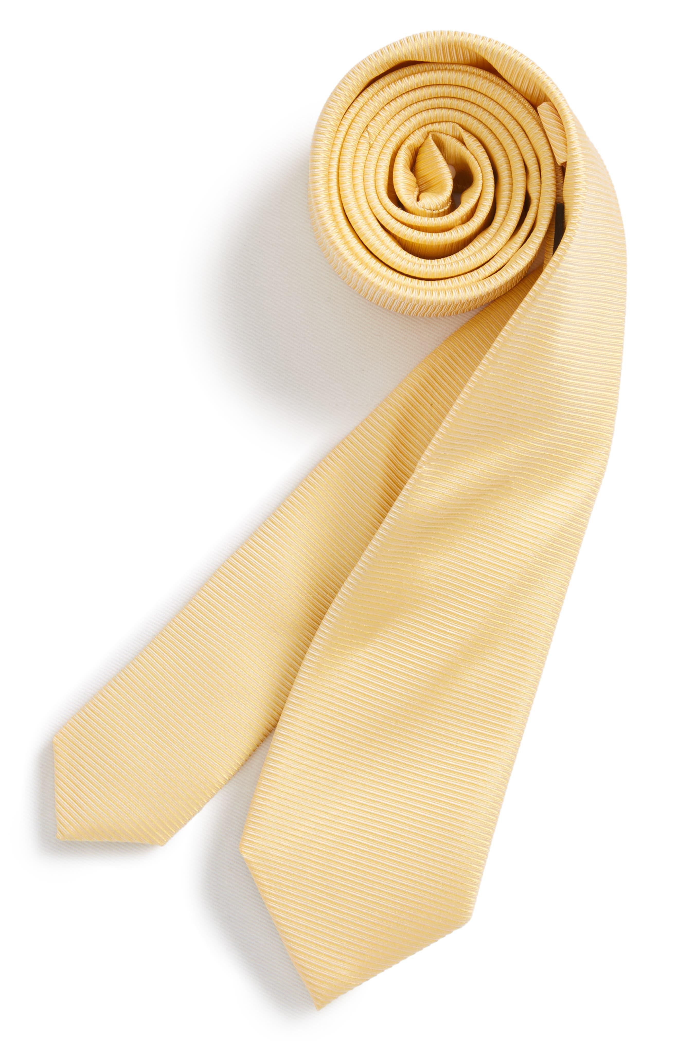 Pinstripe Solid Silk Tie,                         Main,                         color, Yellow