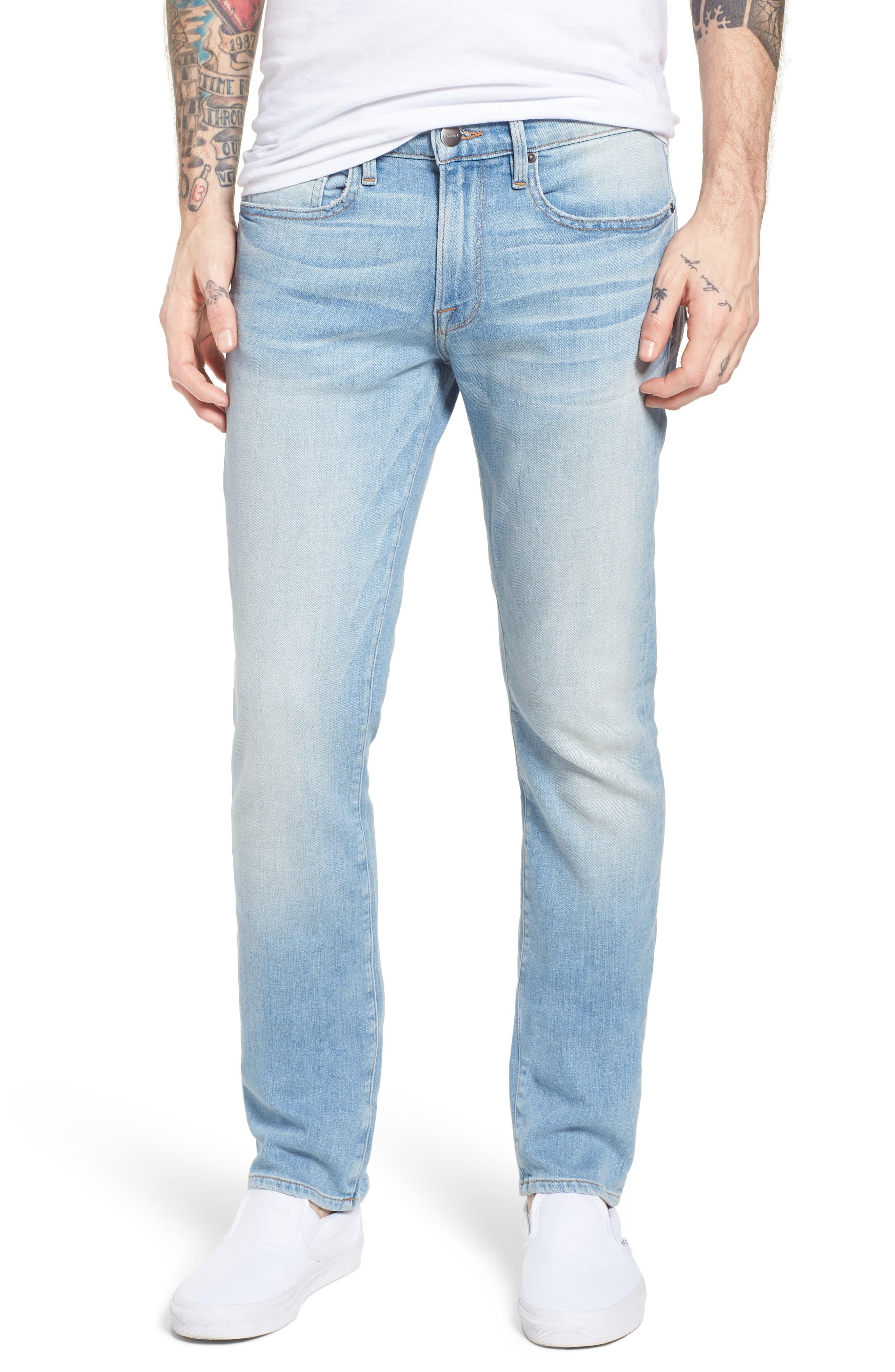 L'Homme Straight Leg Jeans,                             Main thumbnail 1, color,                             Finn