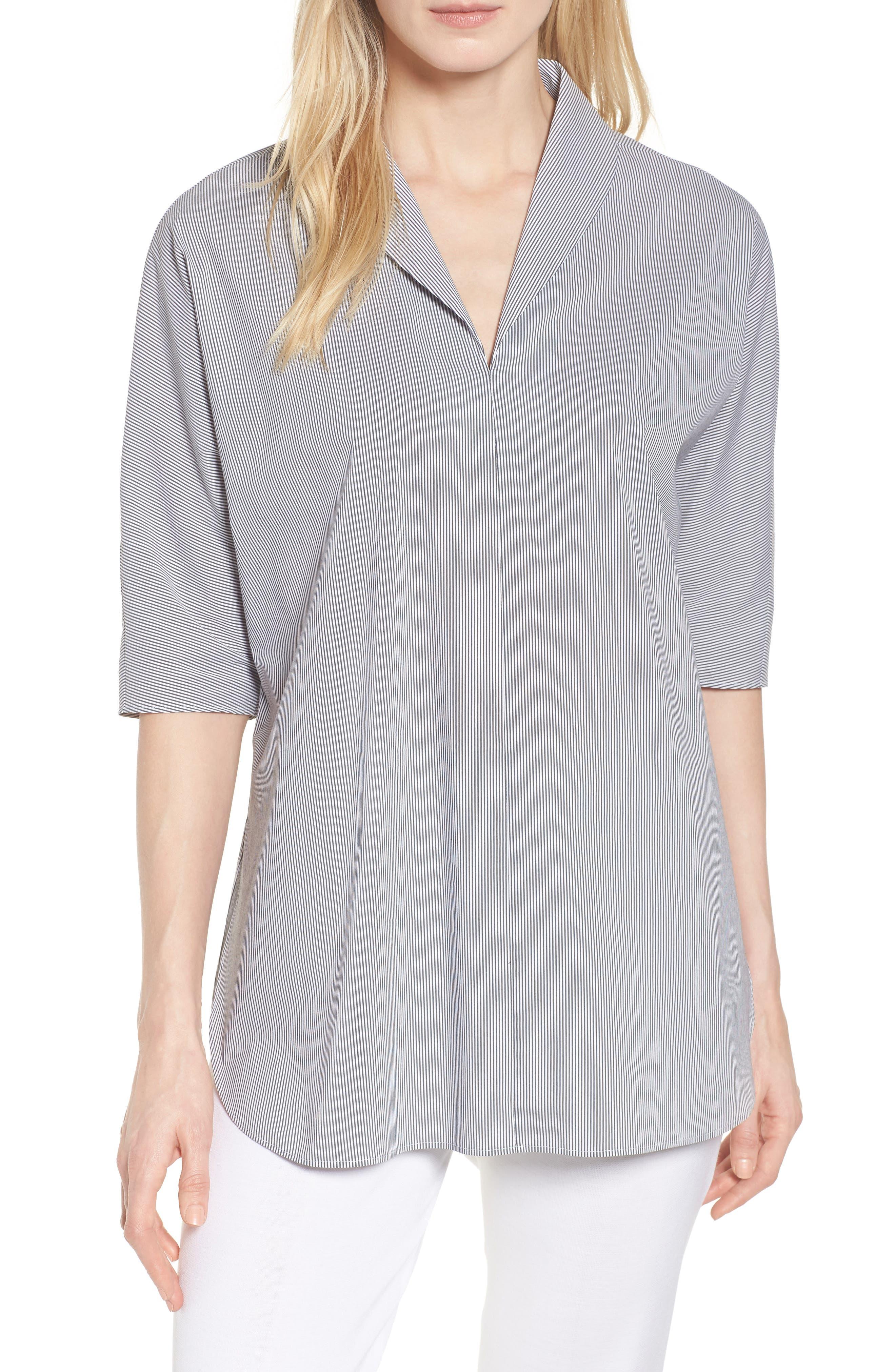 Stripe Tunic Shirt,                             Main thumbnail 1, color,                             Black/ White