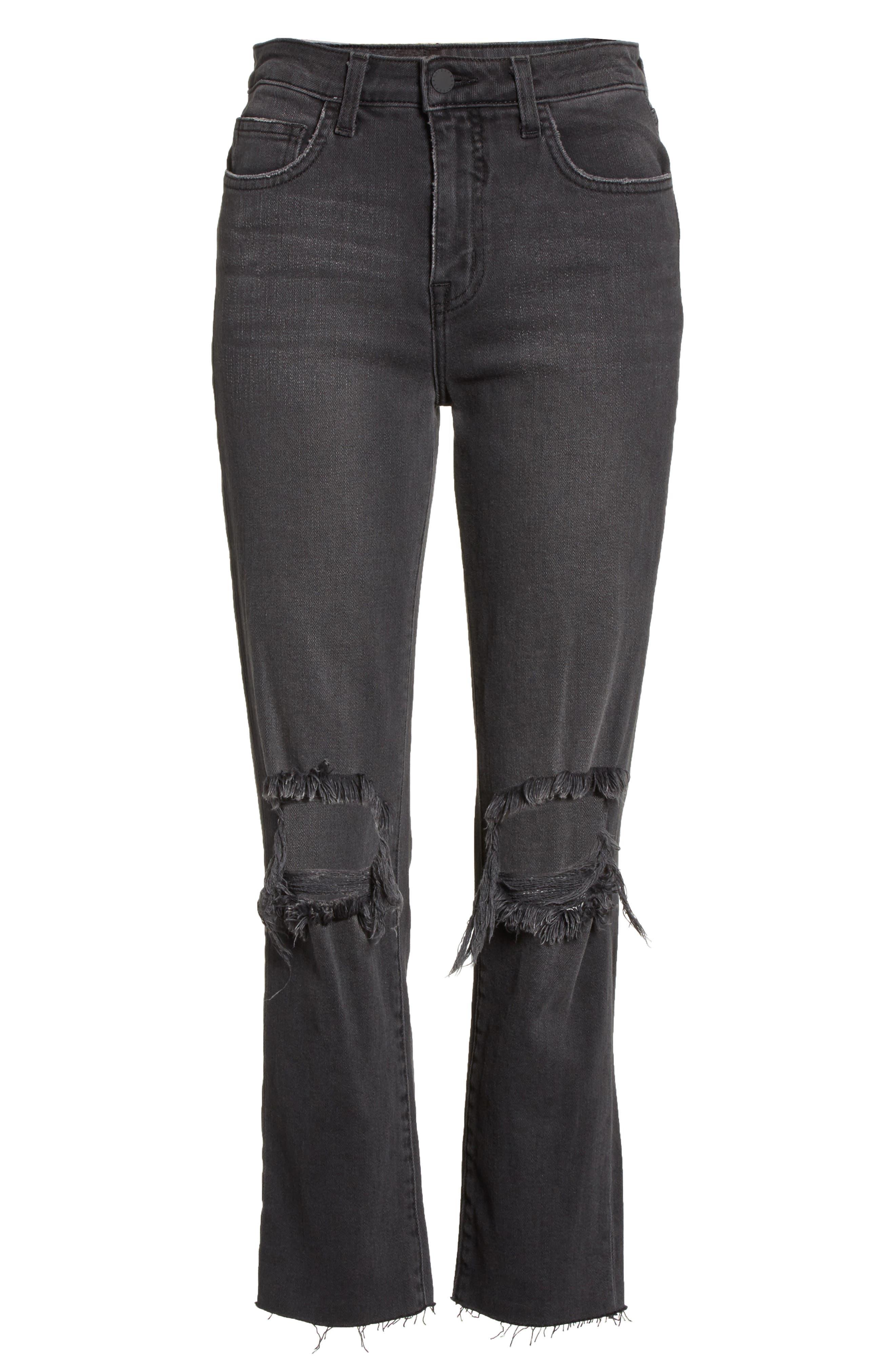 Audrina Ripped Straight Leg Jeans,                             Alternate thumbnail 7, color,                             Vintage Black Worn Destruct