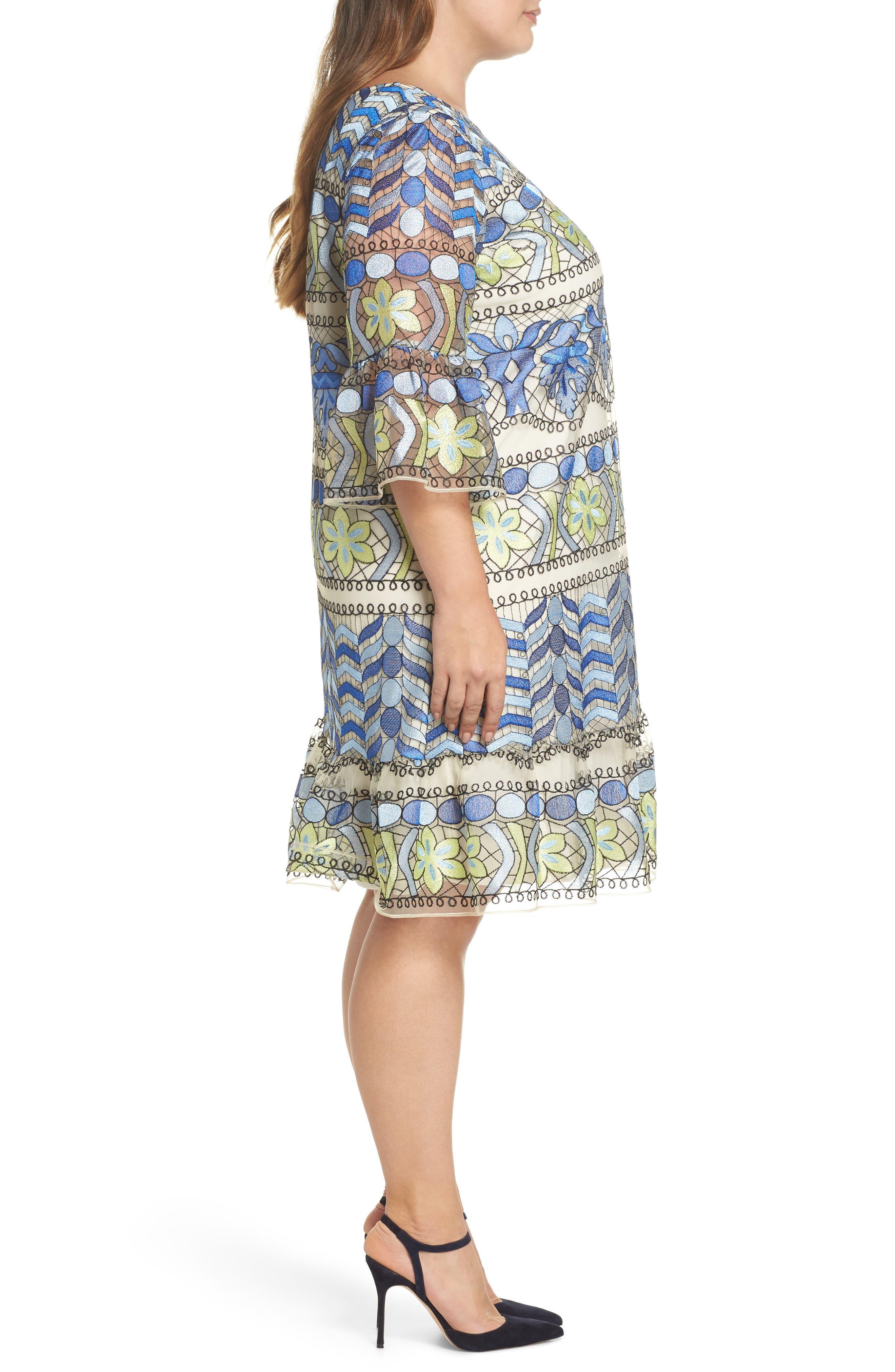 Emboidered Ruffle Sleeve Dress,                             Alternate thumbnail 3, color,                             Blue