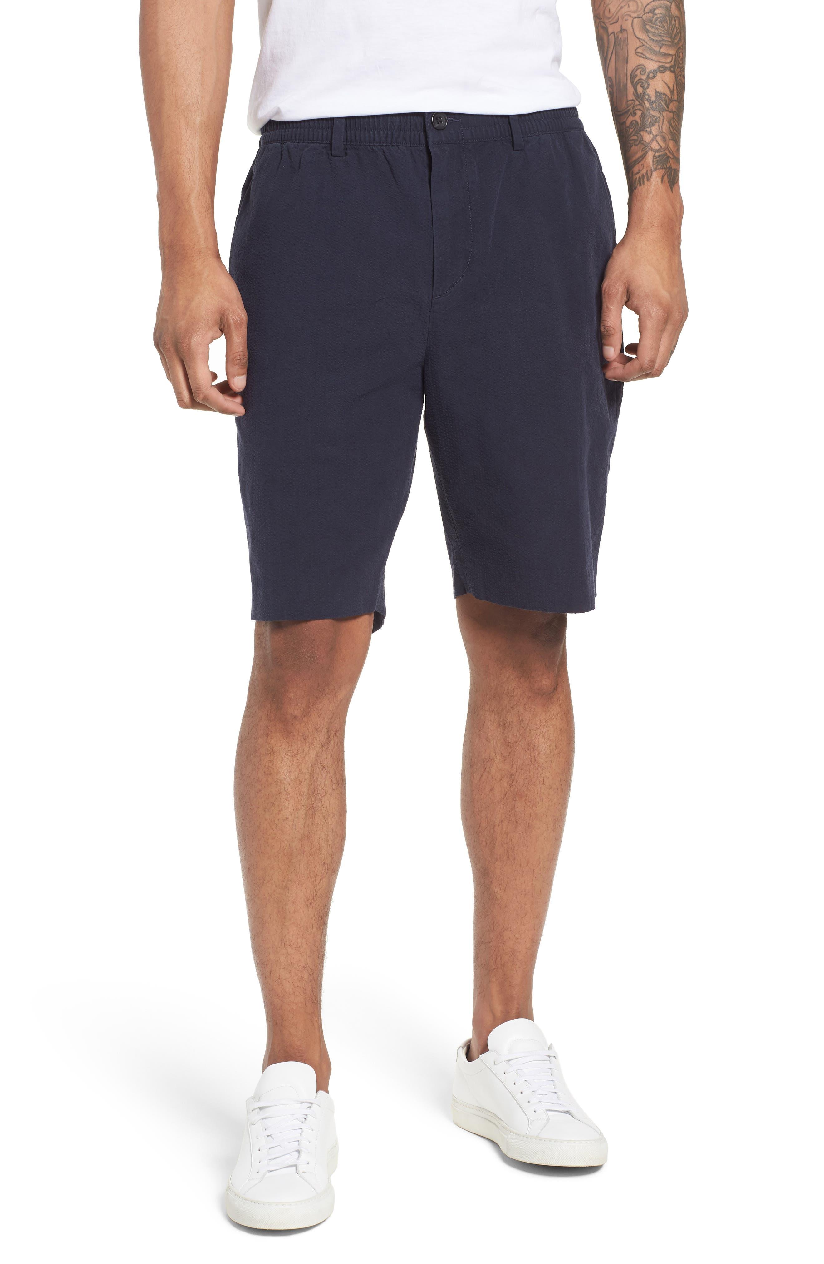 Elastic Waist Seersucker Shorts,                             Main thumbnail 1, color,                             Navy Night Seersucker