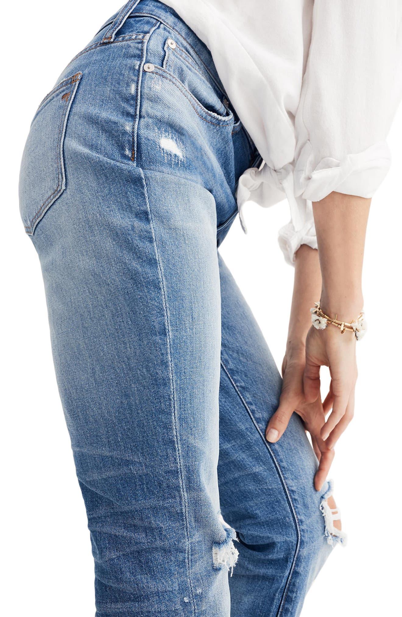 Ripped High Waist Slim Boyfriend Jeans,                             Alternate thumbnail 3, color,                             Burt