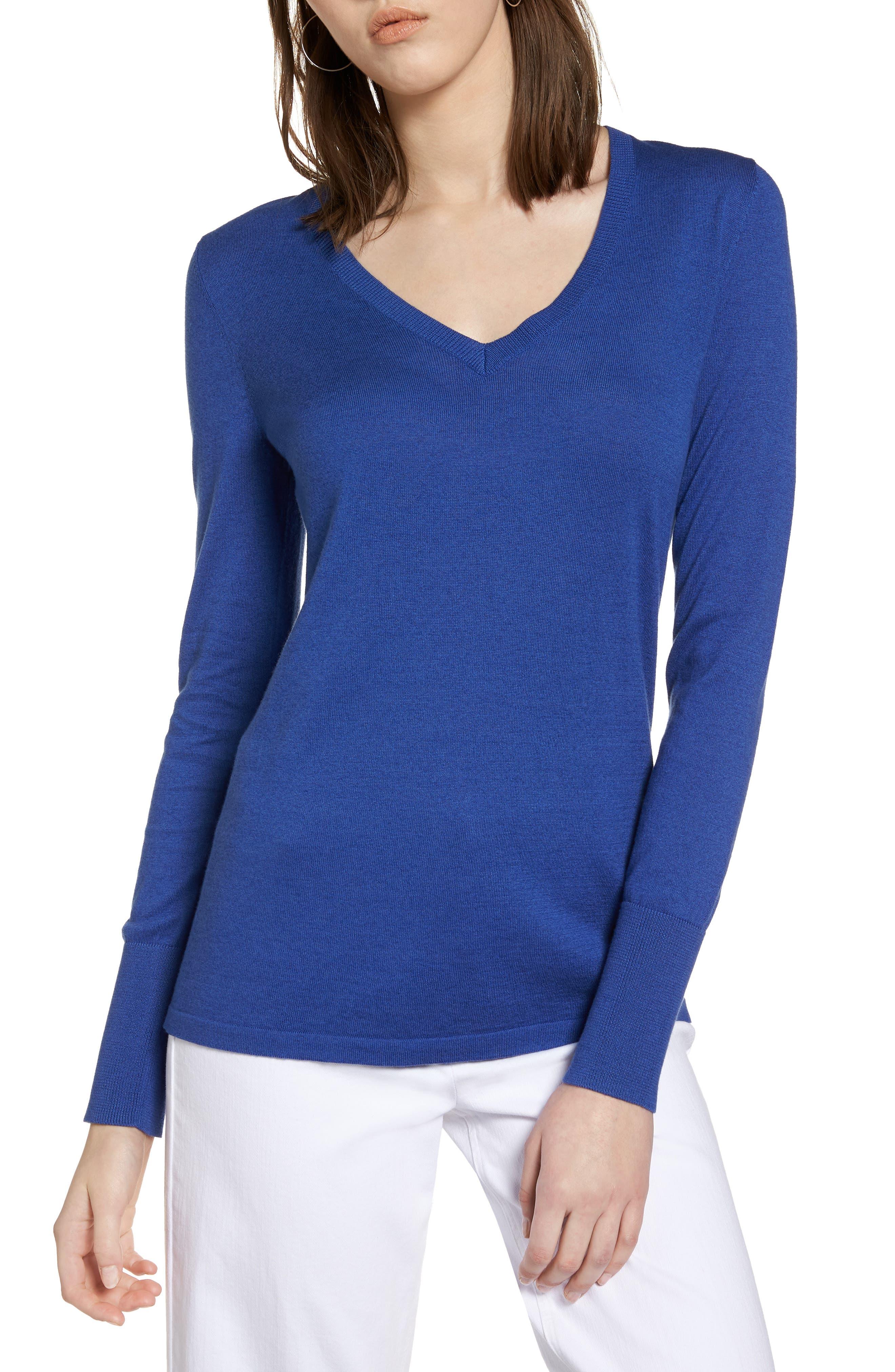 Halogen® Cotton Blend V-Neck Sweater (Regular & Petite)