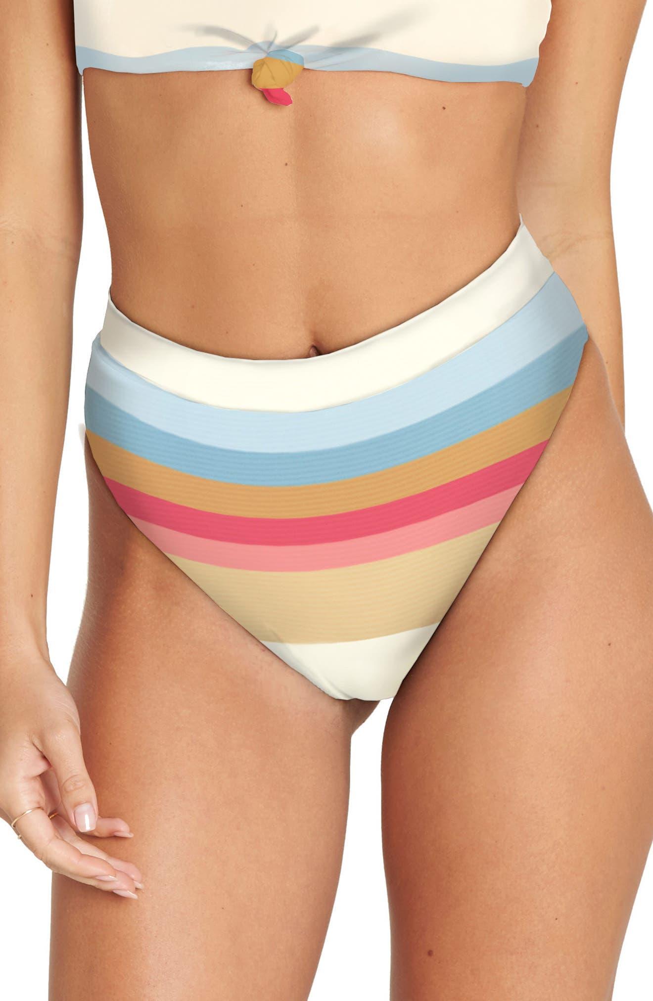 Baja Break High Waist Bikini Bottoms,                         Main,                         color, White Multi