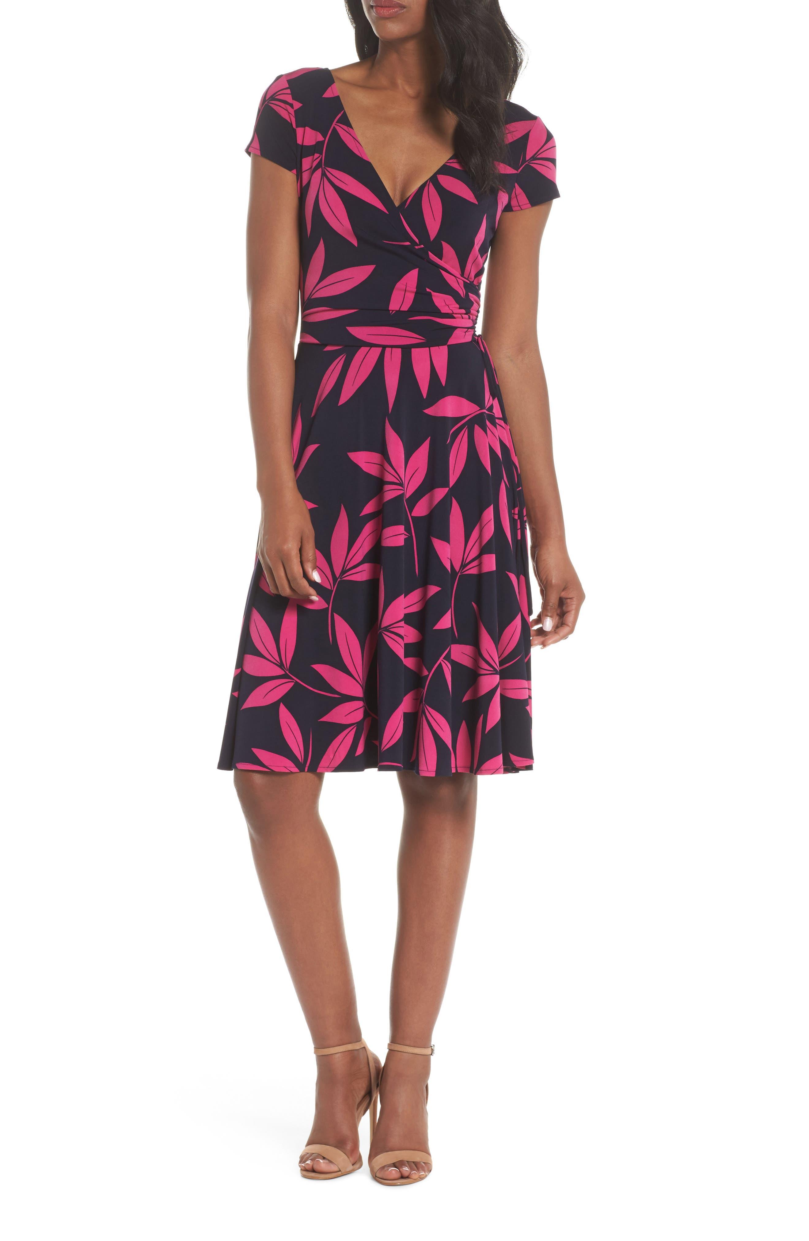 Leaf Print Faux Wrap Dress,                             Main thumbnail 1, color,                             Navy/ Pink Posie