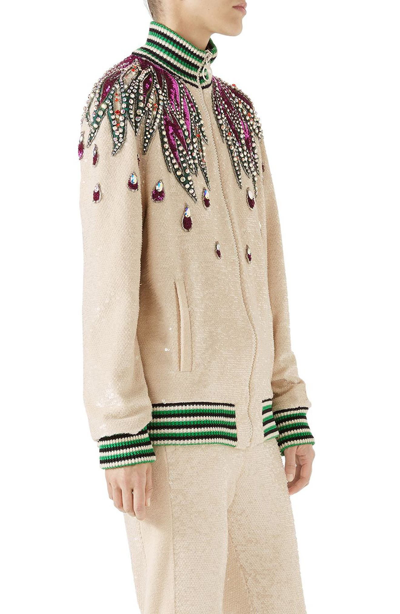 Embellished Track Jacket,                             Alternate thumbnail 3, color,                             Gardenia/ Multicolor