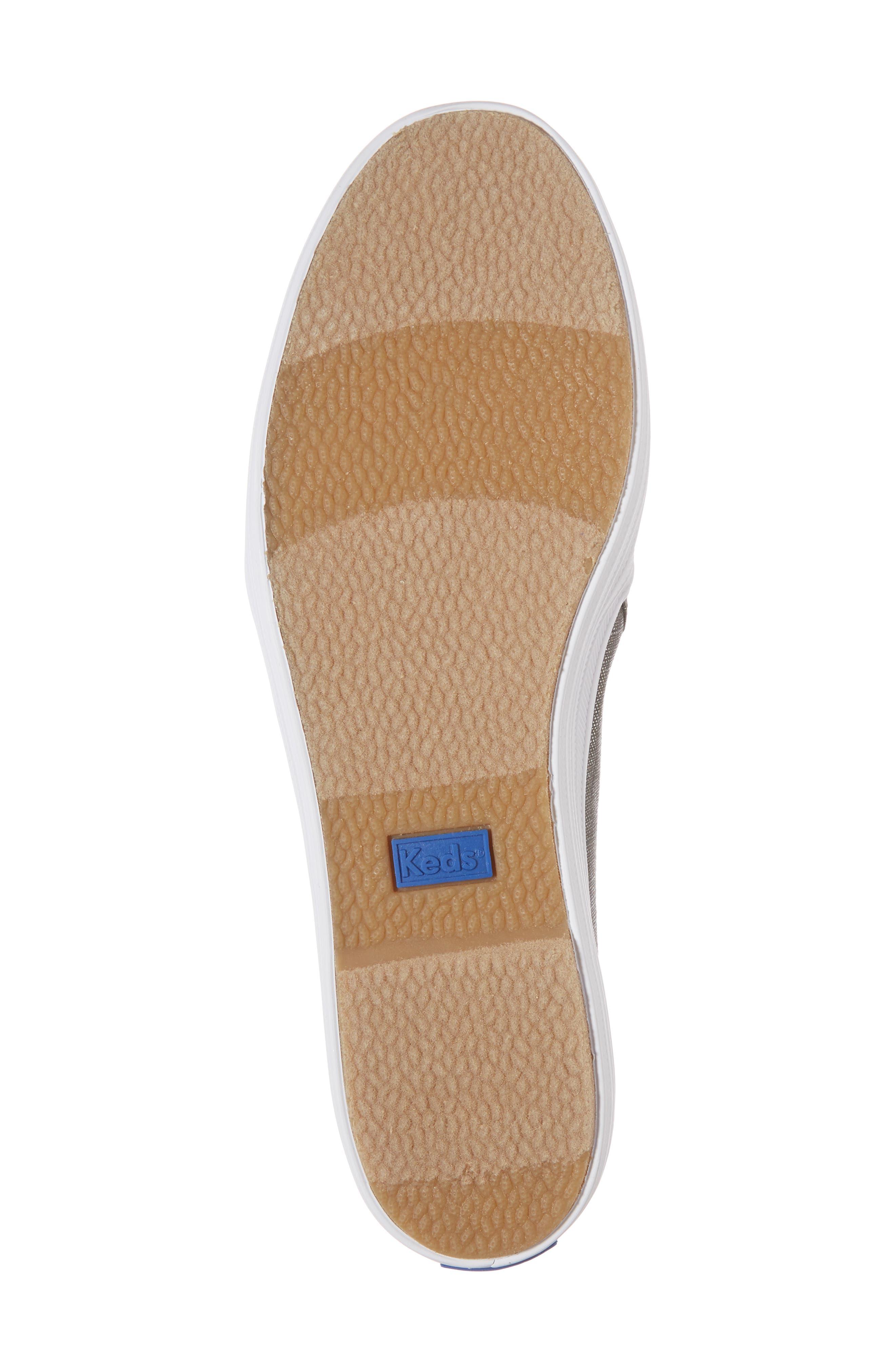 Triple Decker Metallic Linen Slip-On Sneaker,                             Alternate thumbnail 5, color,                             Gunmetal