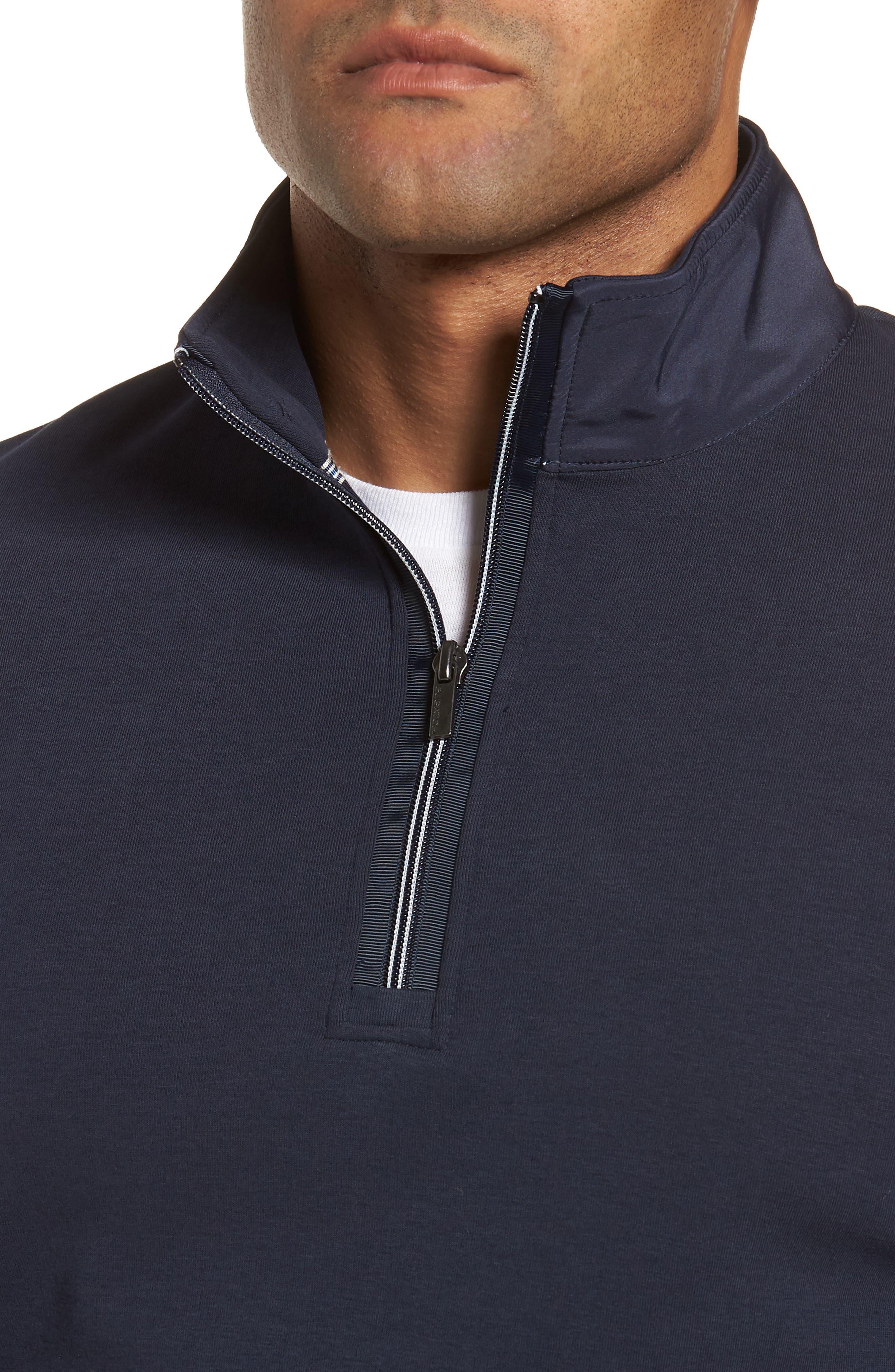 Regular Fit Quarter Zip Pullover,                             Alternate thumbnail 4, color,                             Navy