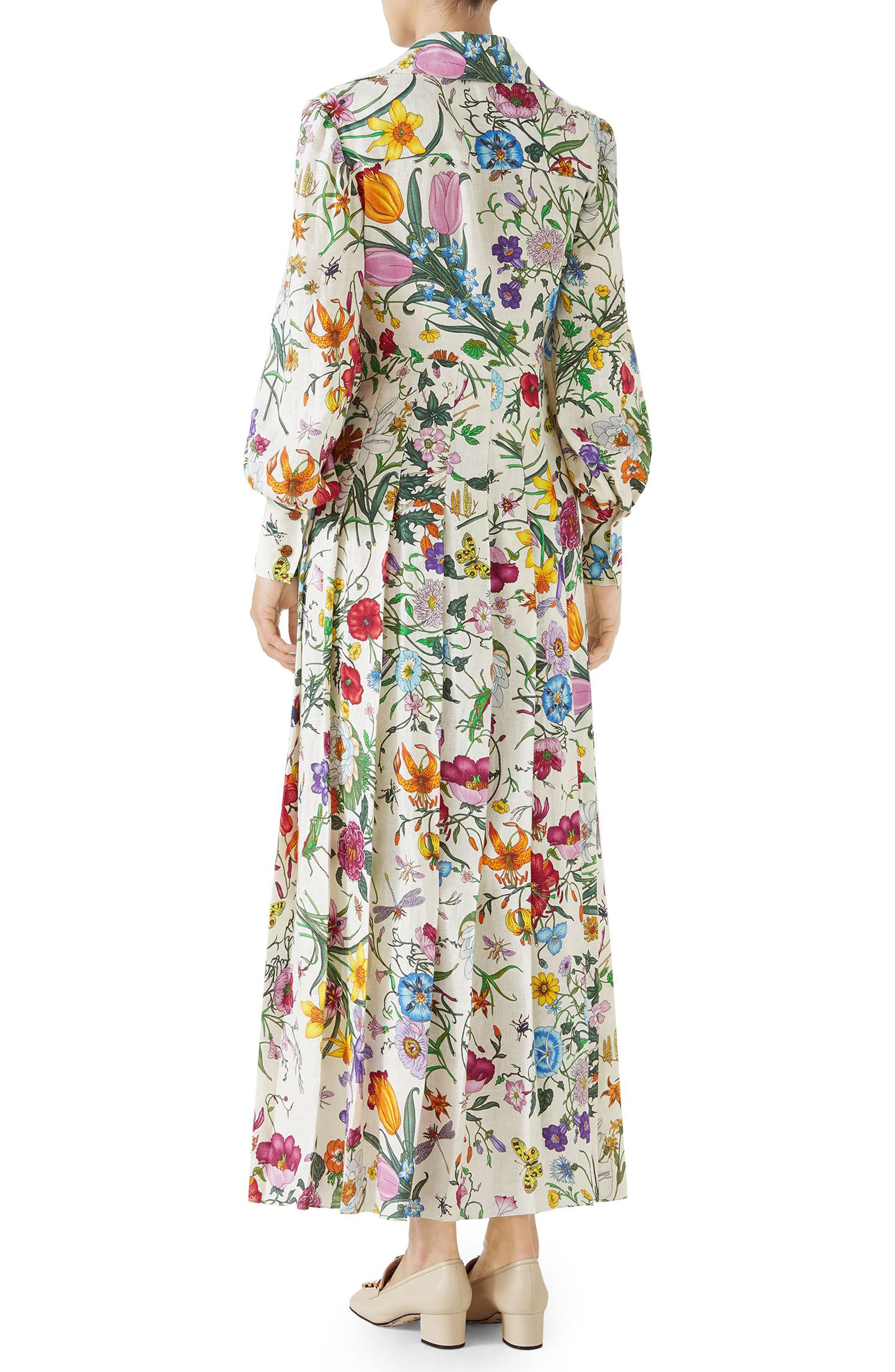 Puff Sleeve Pleated Silk Dress,                             Alternate thumbnail 2, color,                             Ivory/ Multicolor Print