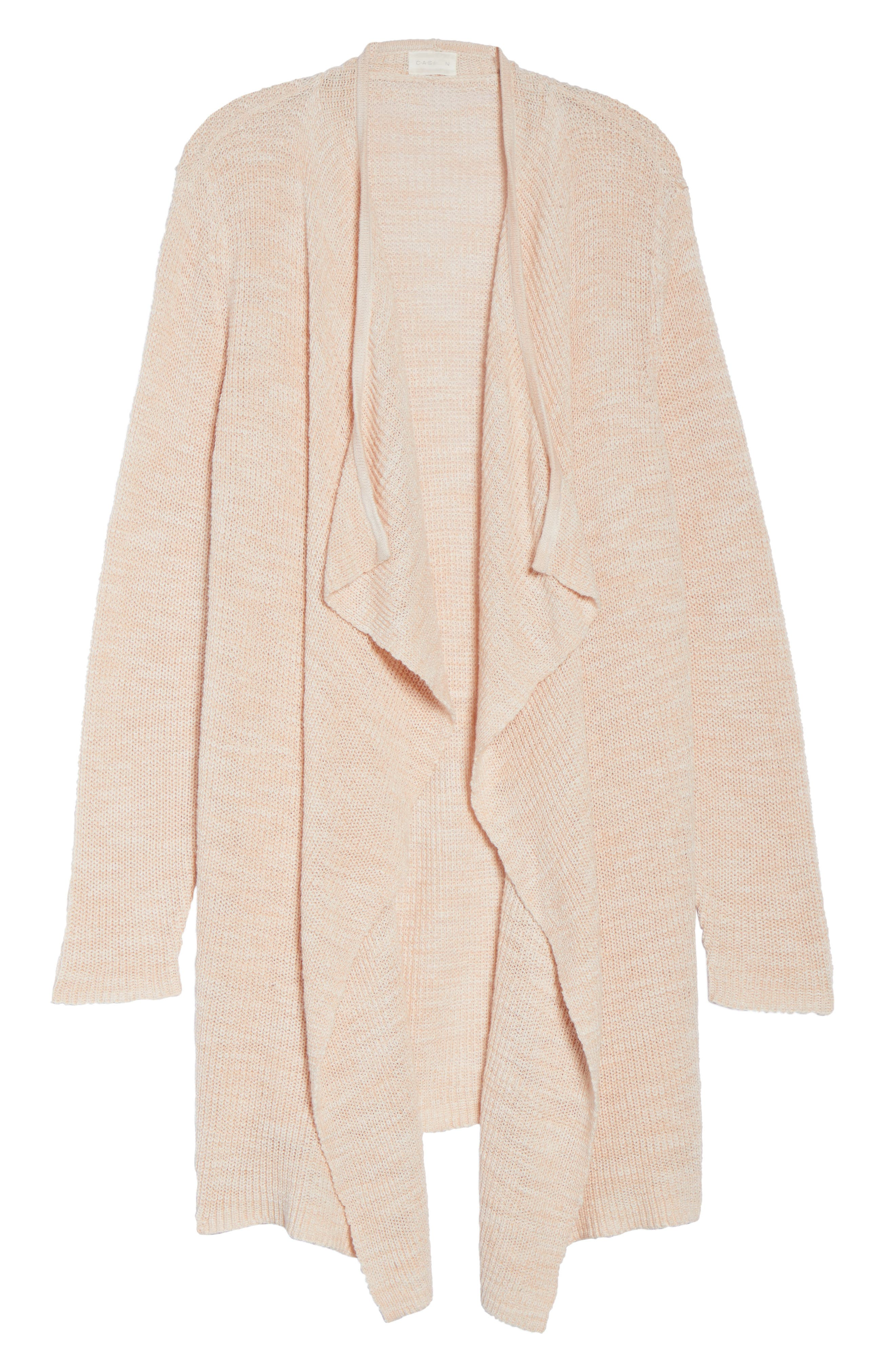 Drape Front Long Cardigan,                             Alternate thumbnail 6, color,                             Beige-Ivory Marl