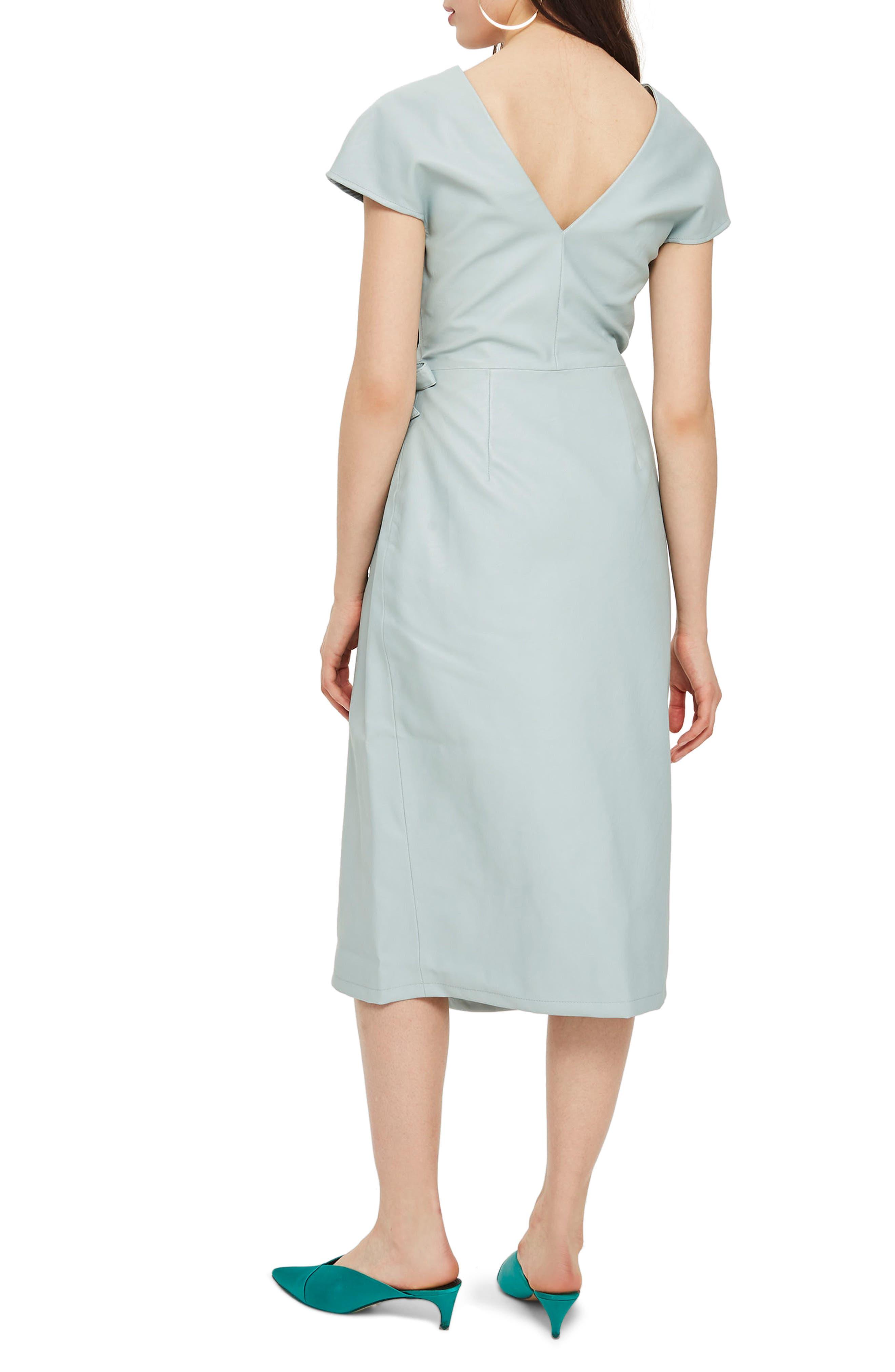 Wrap Midi Dress,                             Alternate thumbnail 2, color,                             Mint