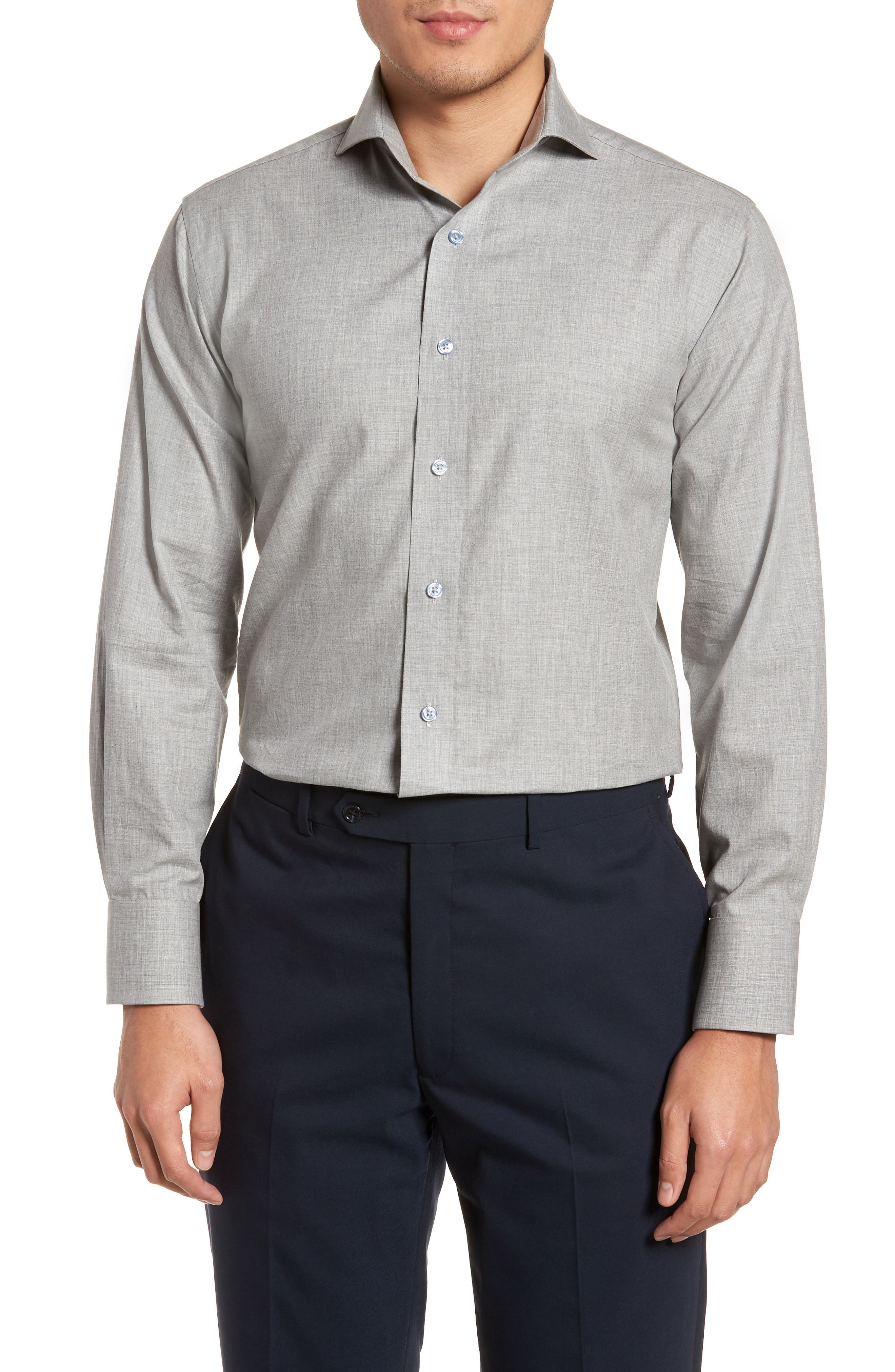 Trim Fit Solid Dress Shirt,                             Main thumbnail 1, color,                             Light Grey