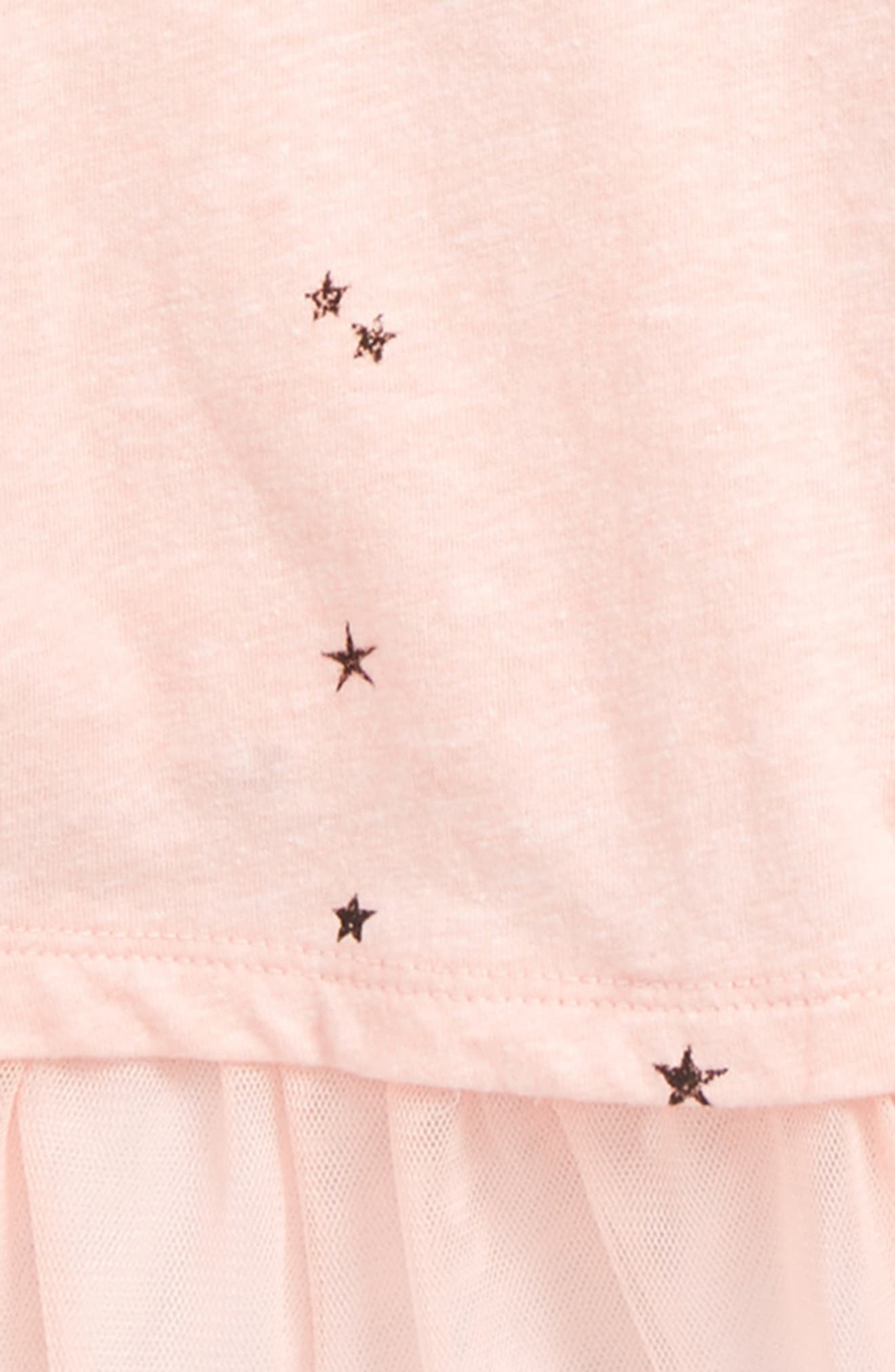 Mesh Hem Tee,                             Alternate thumbnail 2, color,                             Pink Cloud Scattered Stars