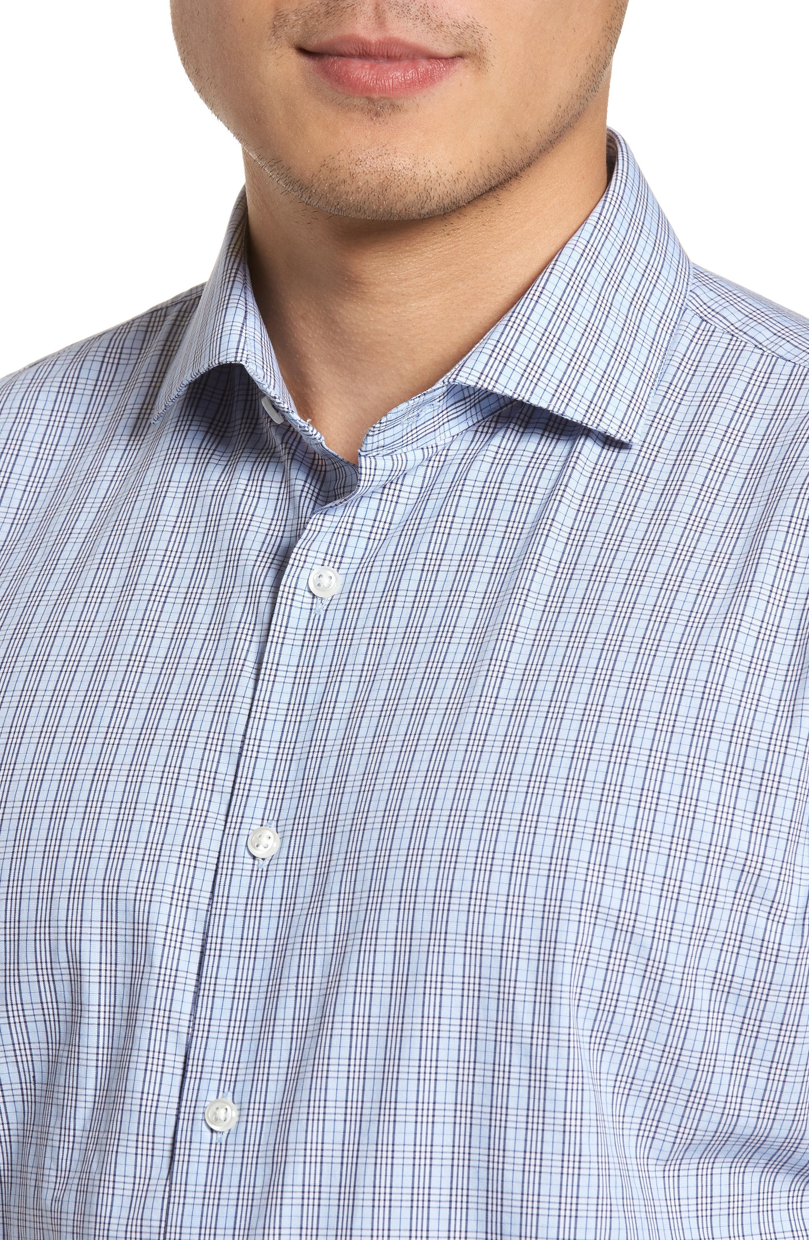 Alternate Image 4  - Nordstrom Men's Shop Tech-Smart Trim Fit Grid Dress Shirt