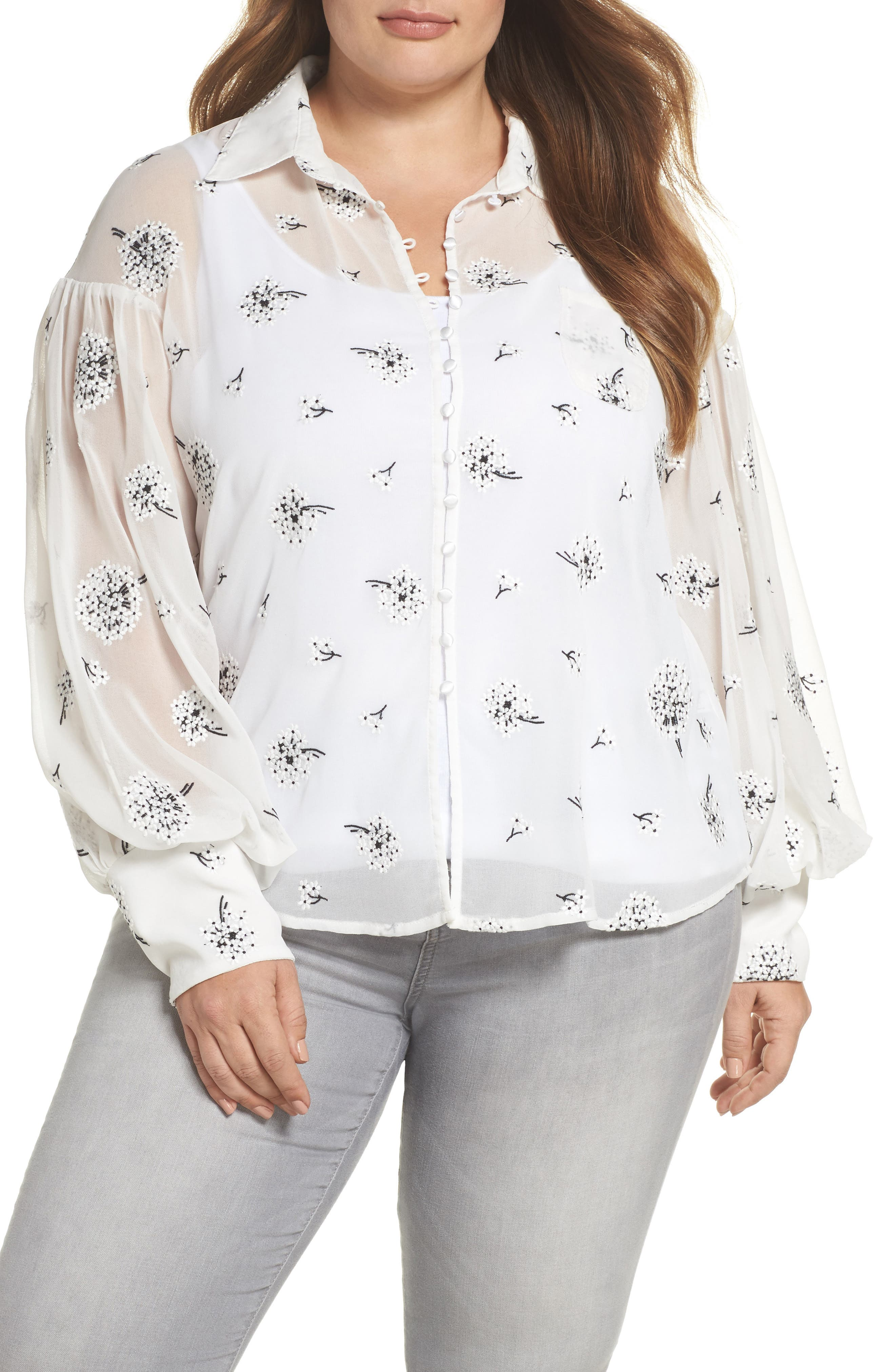ELVI The Dandelion Conversational Embroidered Blouse (Regular & Plus Size)