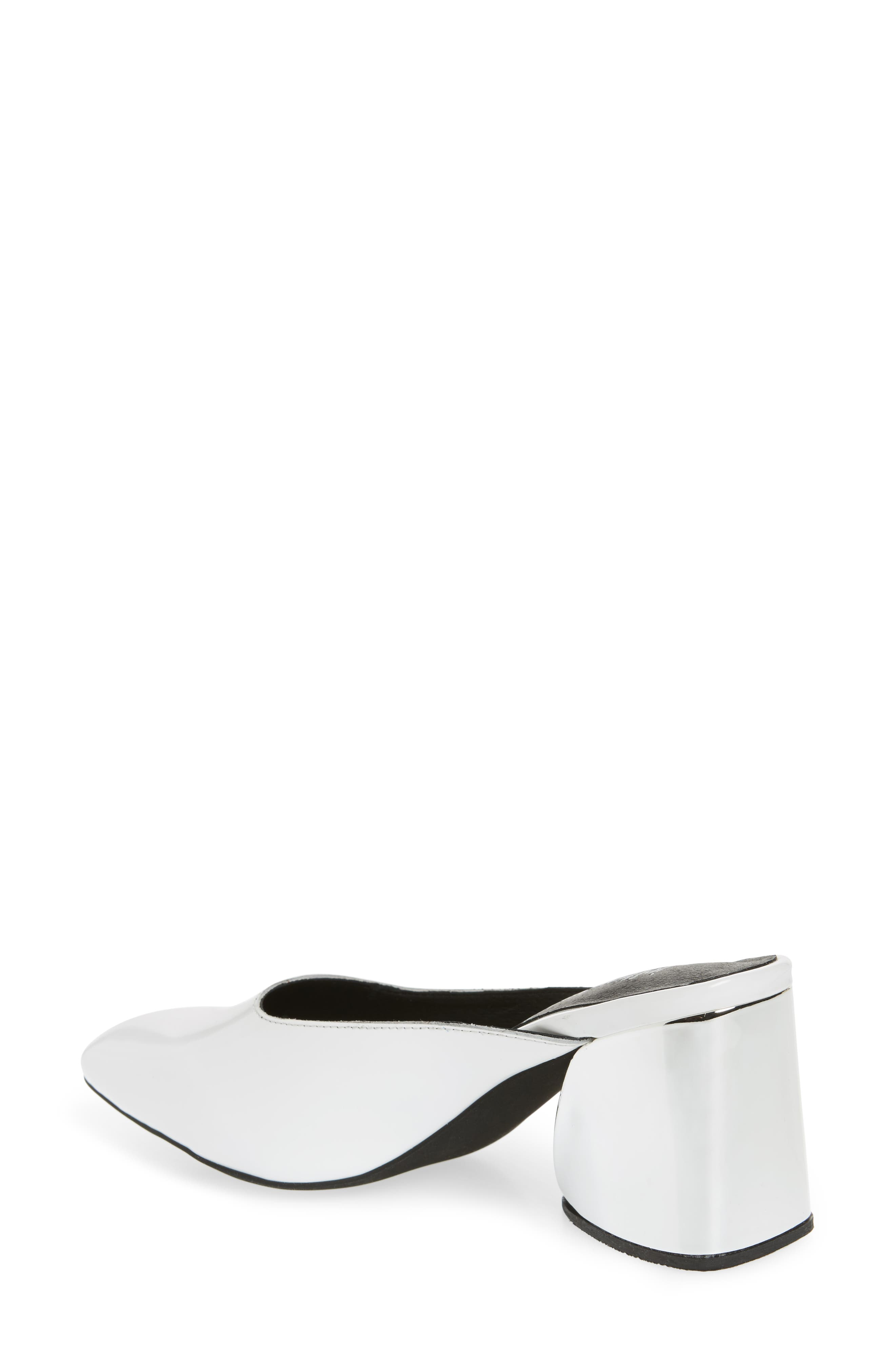 Lamer Flared Heel Mule,                             Alternate thumbnail 2, color,                             White/ Silver Leather