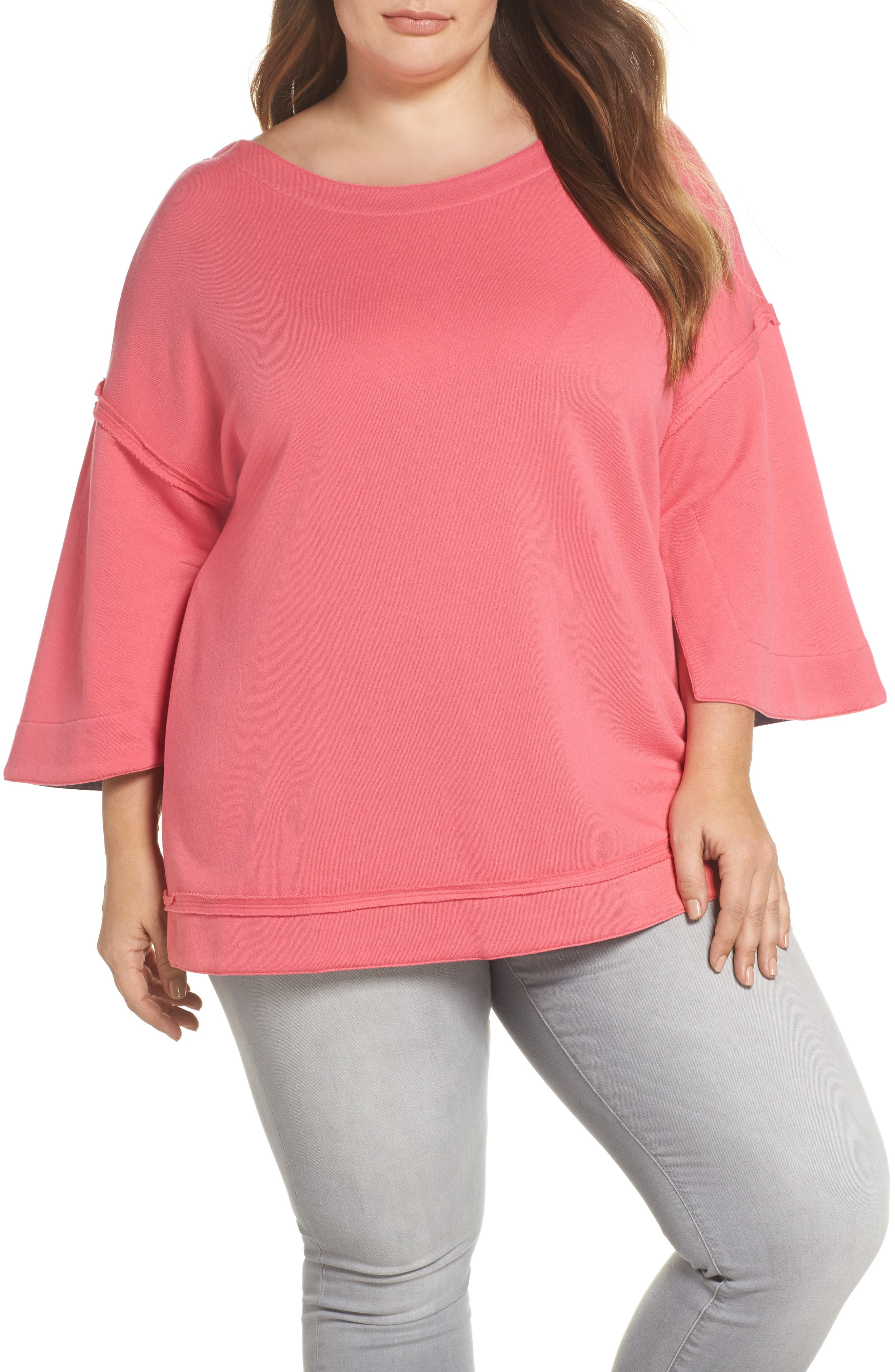 Caslon® Split Sleeve Sweatshirt (Plus Size)