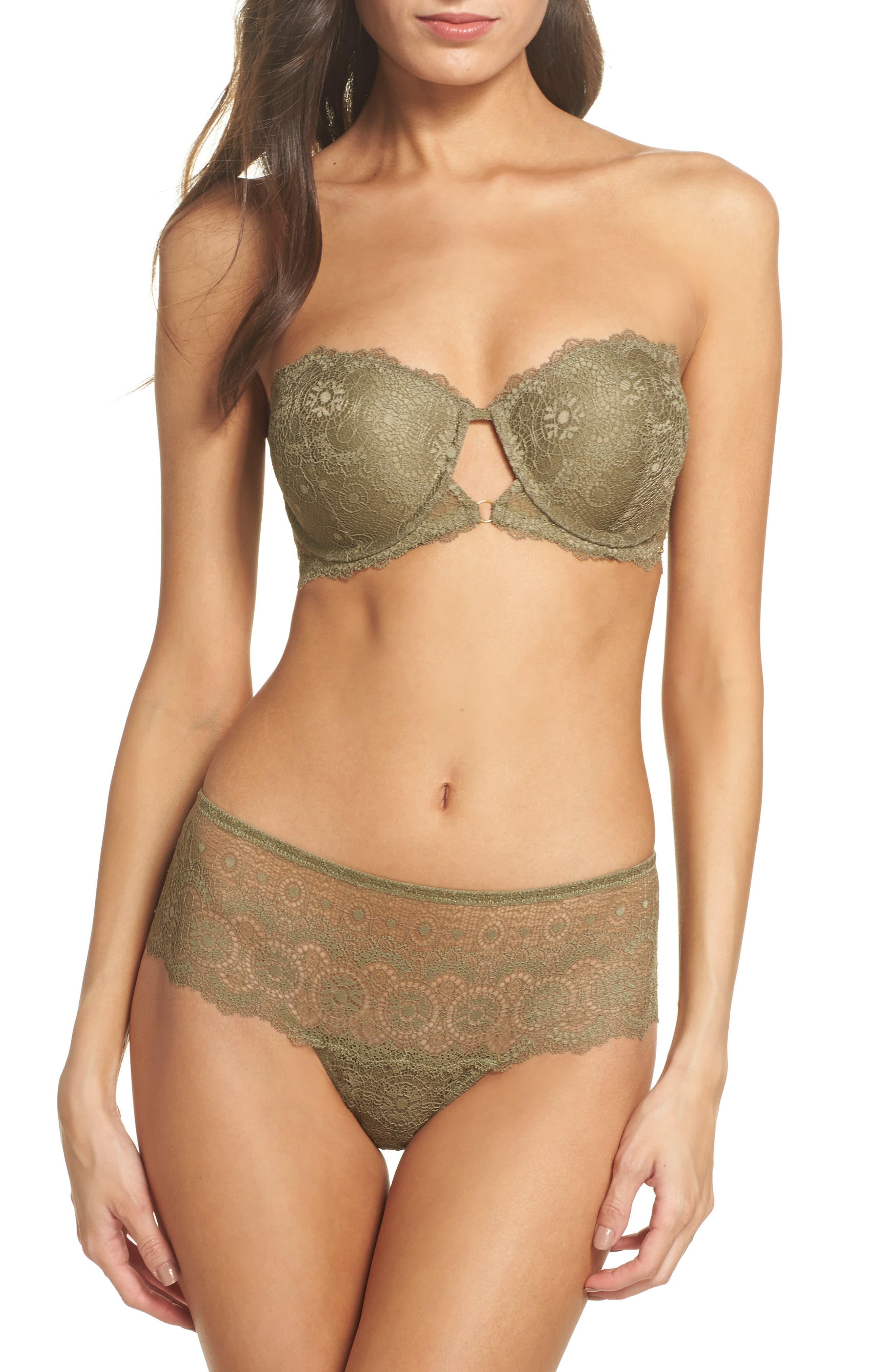 Strapless Underwire Lace Bra,                             Alternate thumbnail 7, color,                             Mermaid
