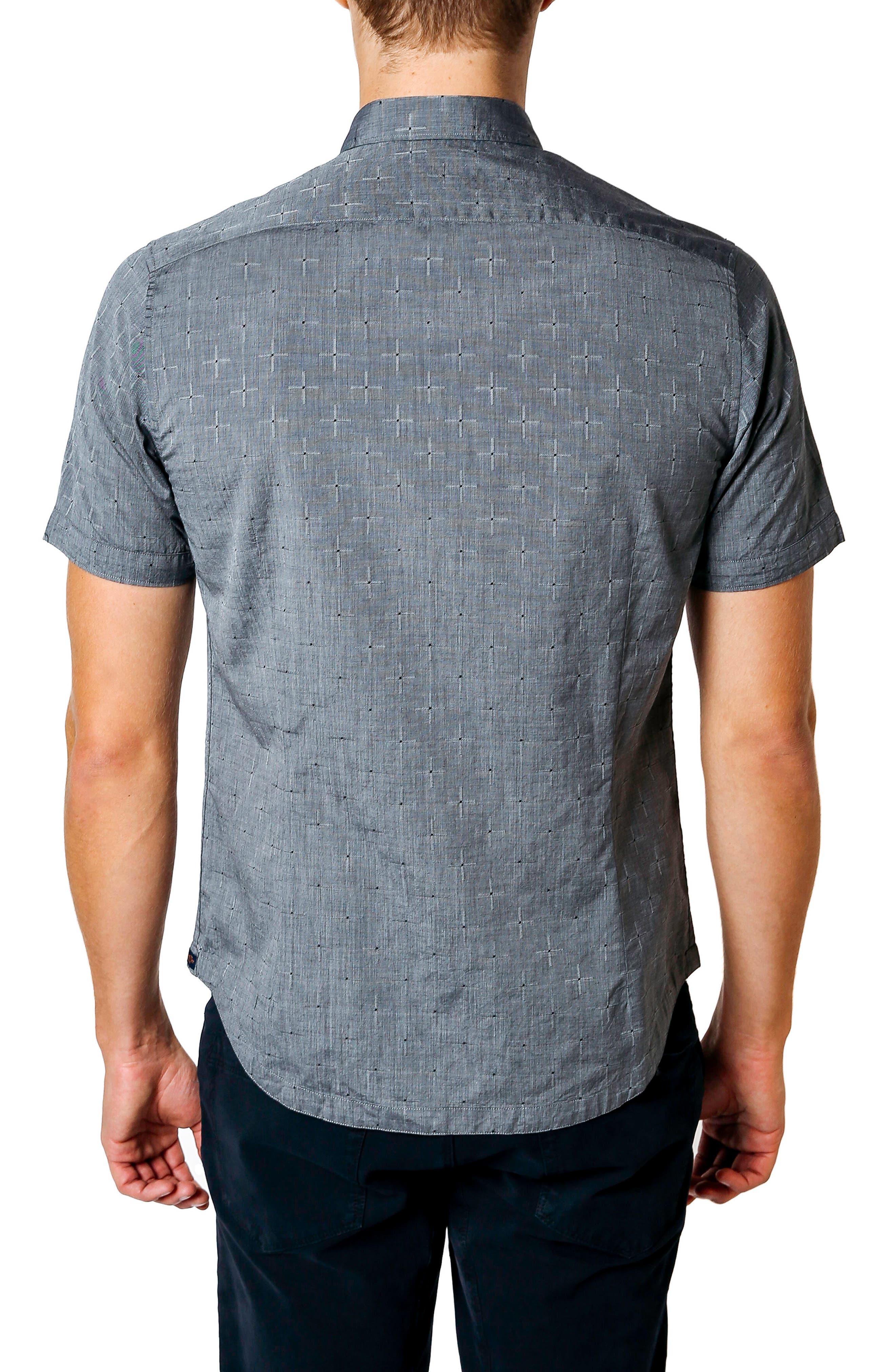 Trim Fit Geometric Short Sleeve Sport Shirt,                             Alternate thumbnail 2, color,                             Black