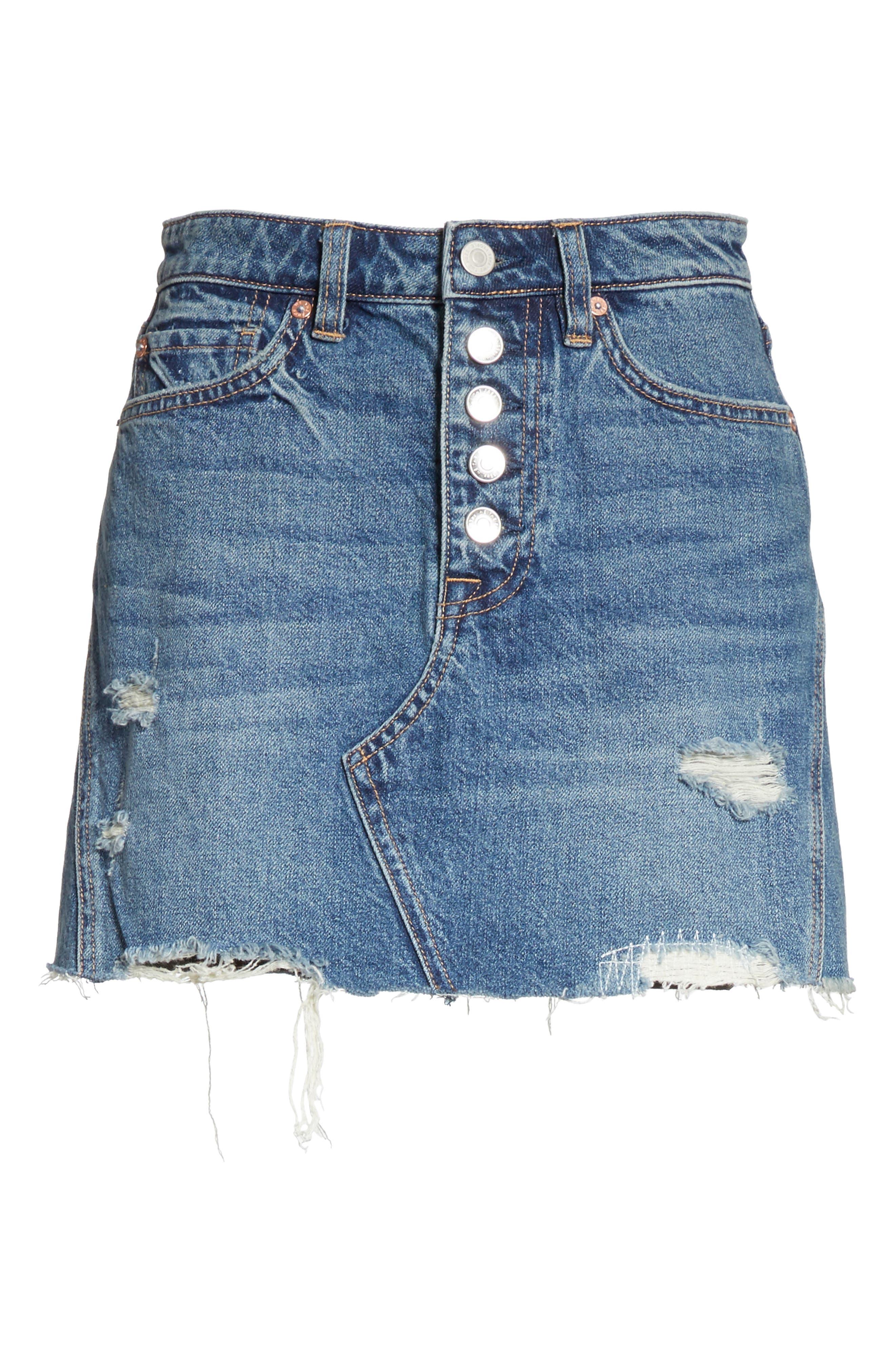 A-Line Denim Skirt,                             Alternate thumbnail 6, color,                             Blue