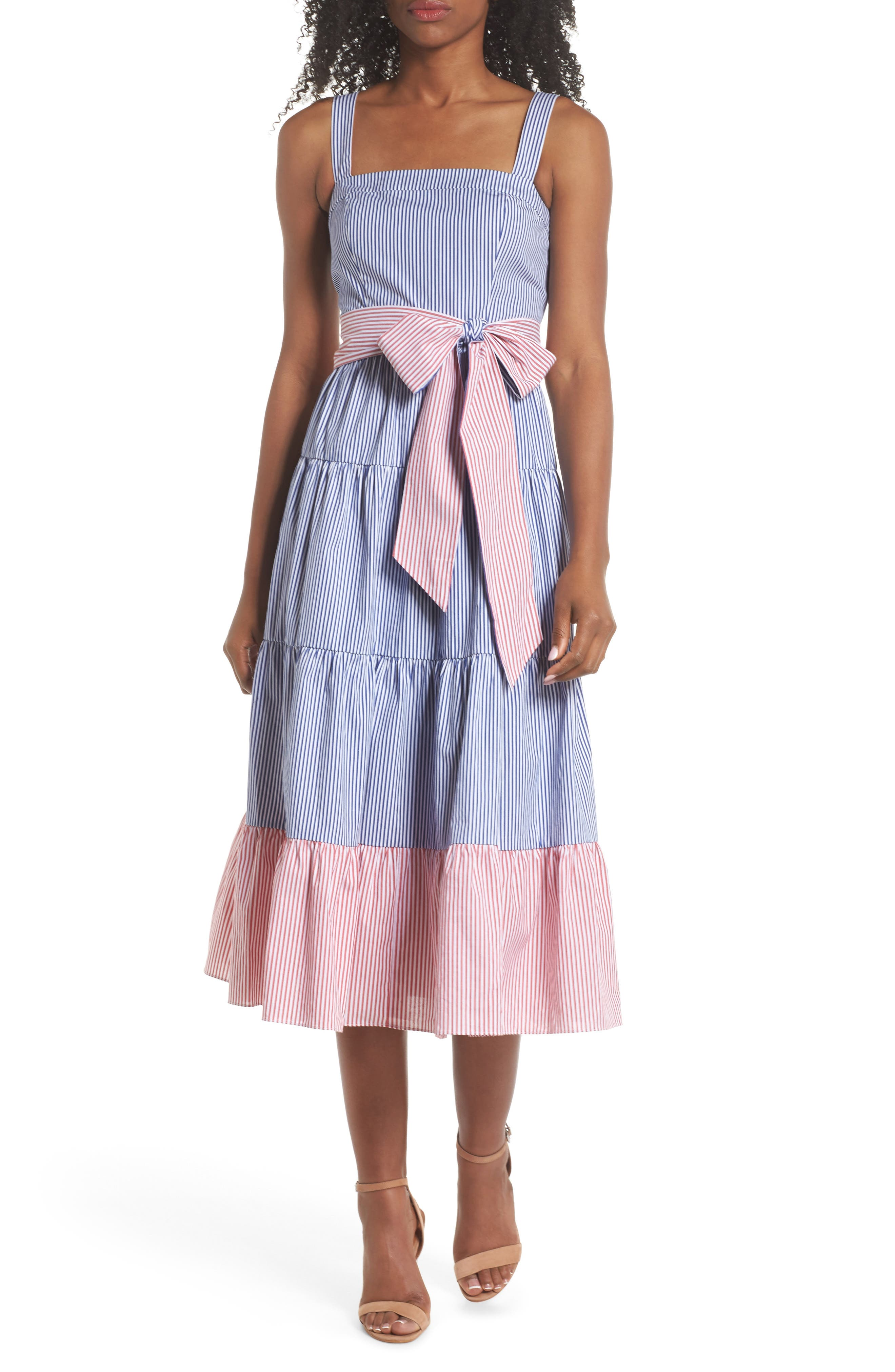 Sleeveless Tiered Sundress,                             Main thumbnail 1, color,                             Blue/ Red