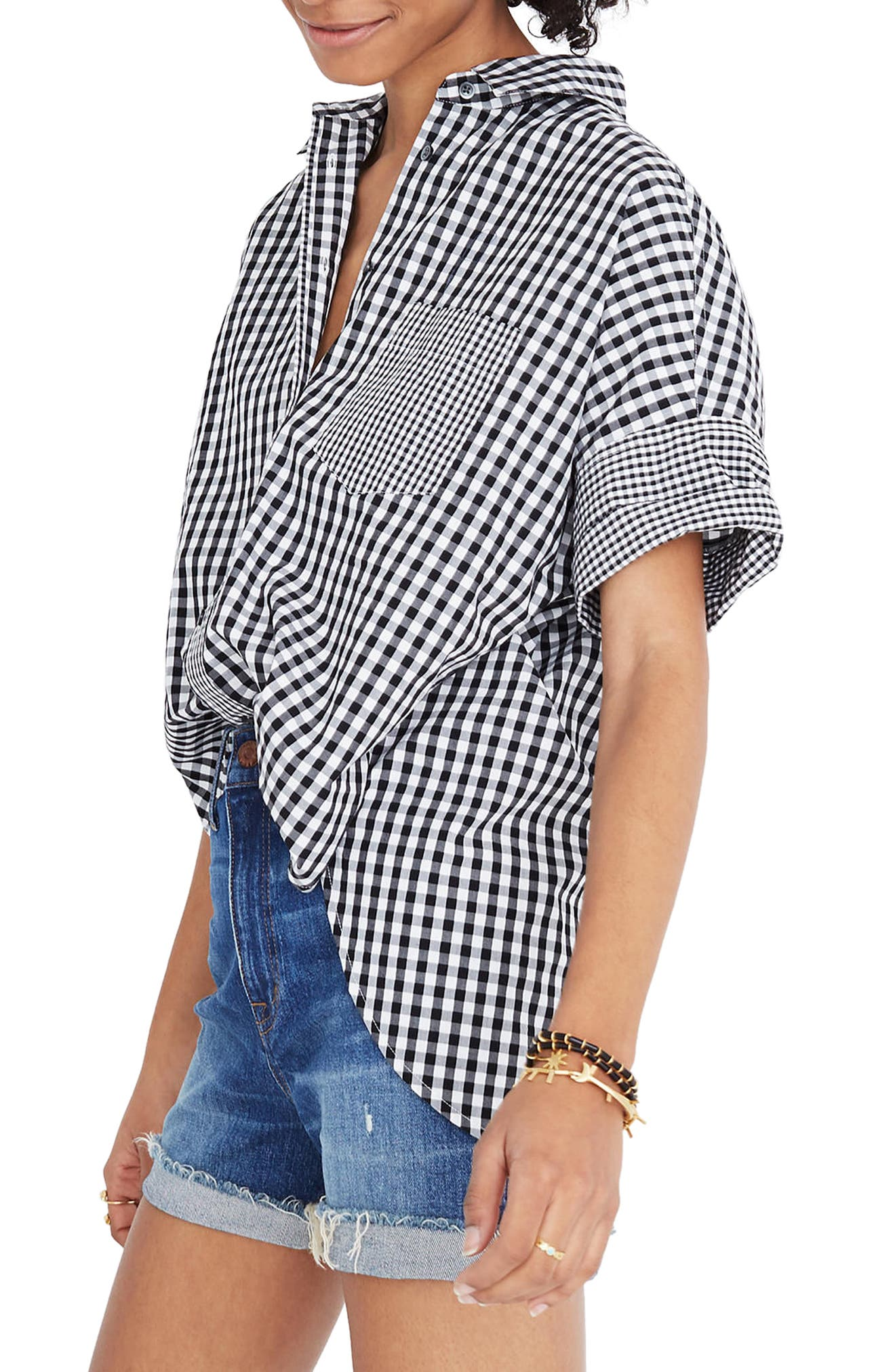 Gingham Play Button Down Shirt,                             Main thumbnail 1, color,                             True Black