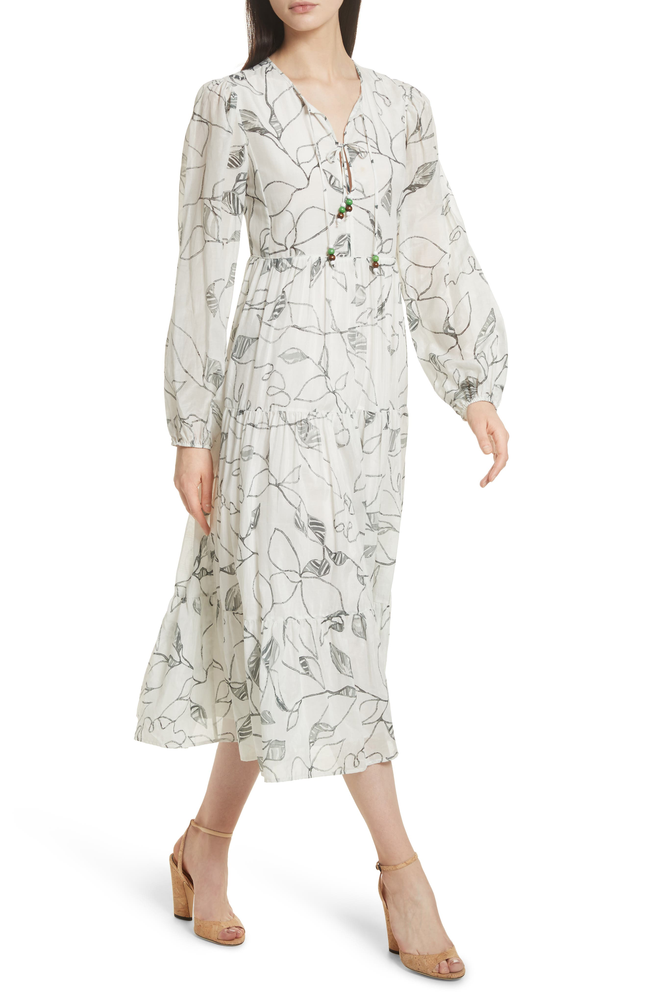 Gwendolyn Tiered Peasant Dress,                             Alternate thumbnail 4, color,                             White Multi