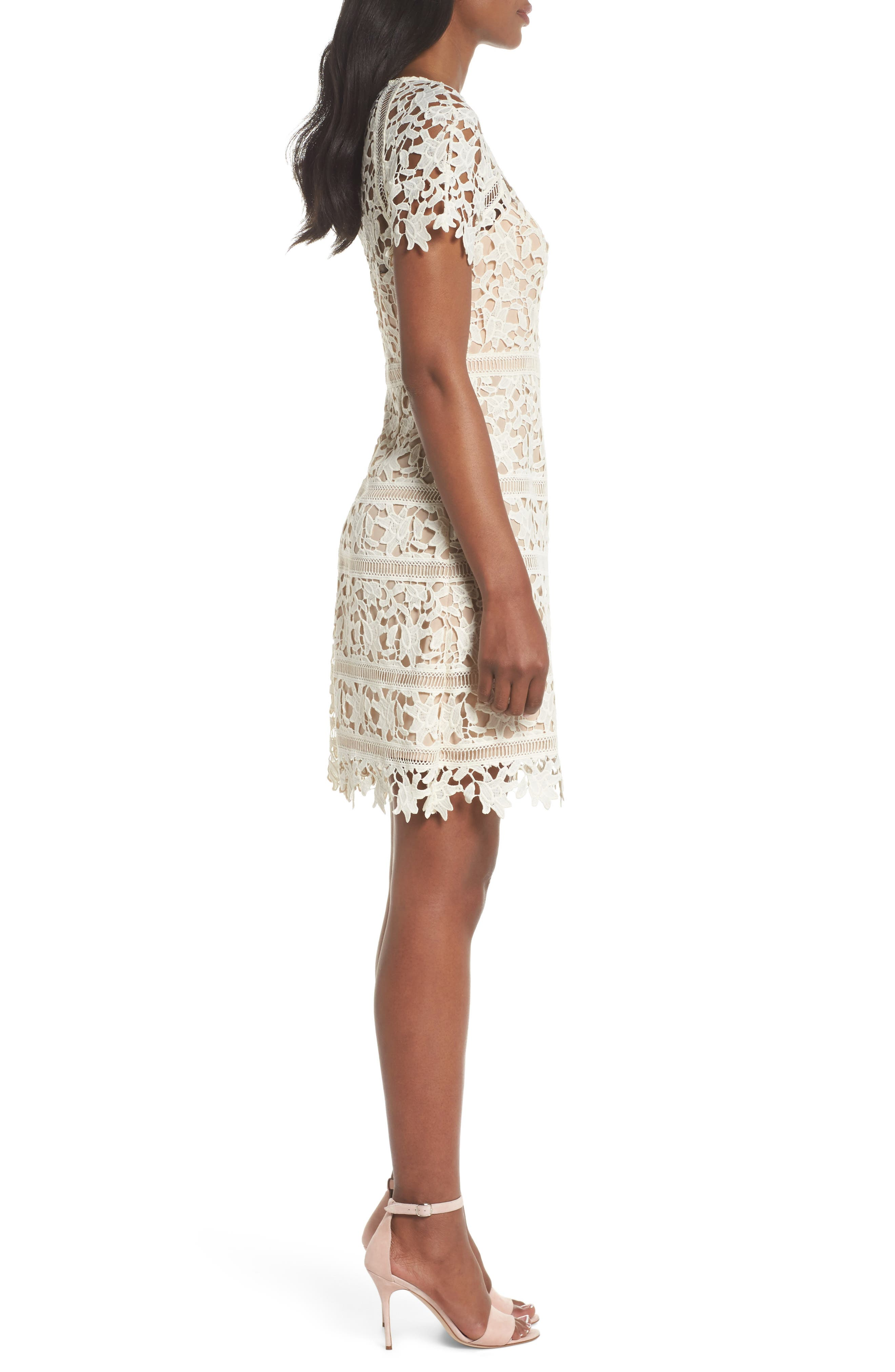 Crochet Overlay Dress,                             Alternate thumbnail 3, color,                             Ivory