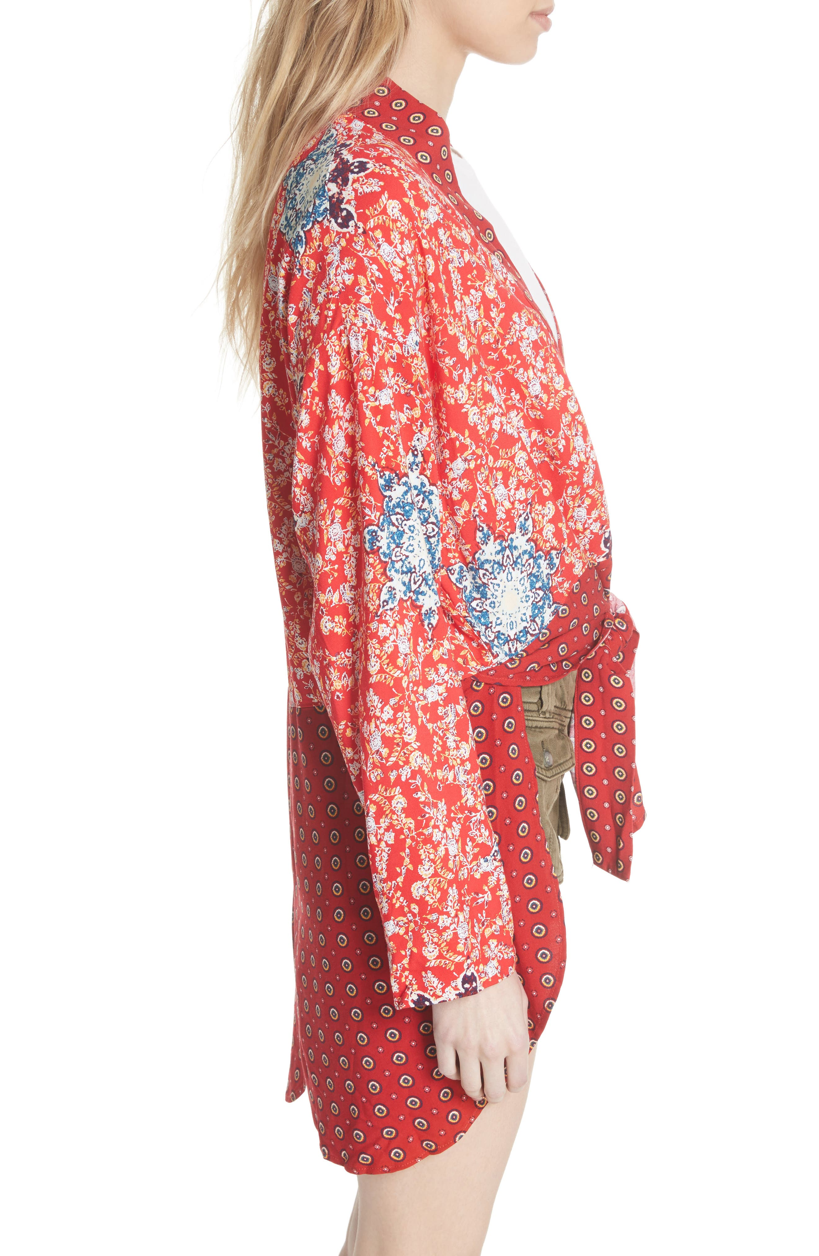 Forget Me Knot Tie Front Kimono,                             Alternate thumbnail 3, color,                             Light Red