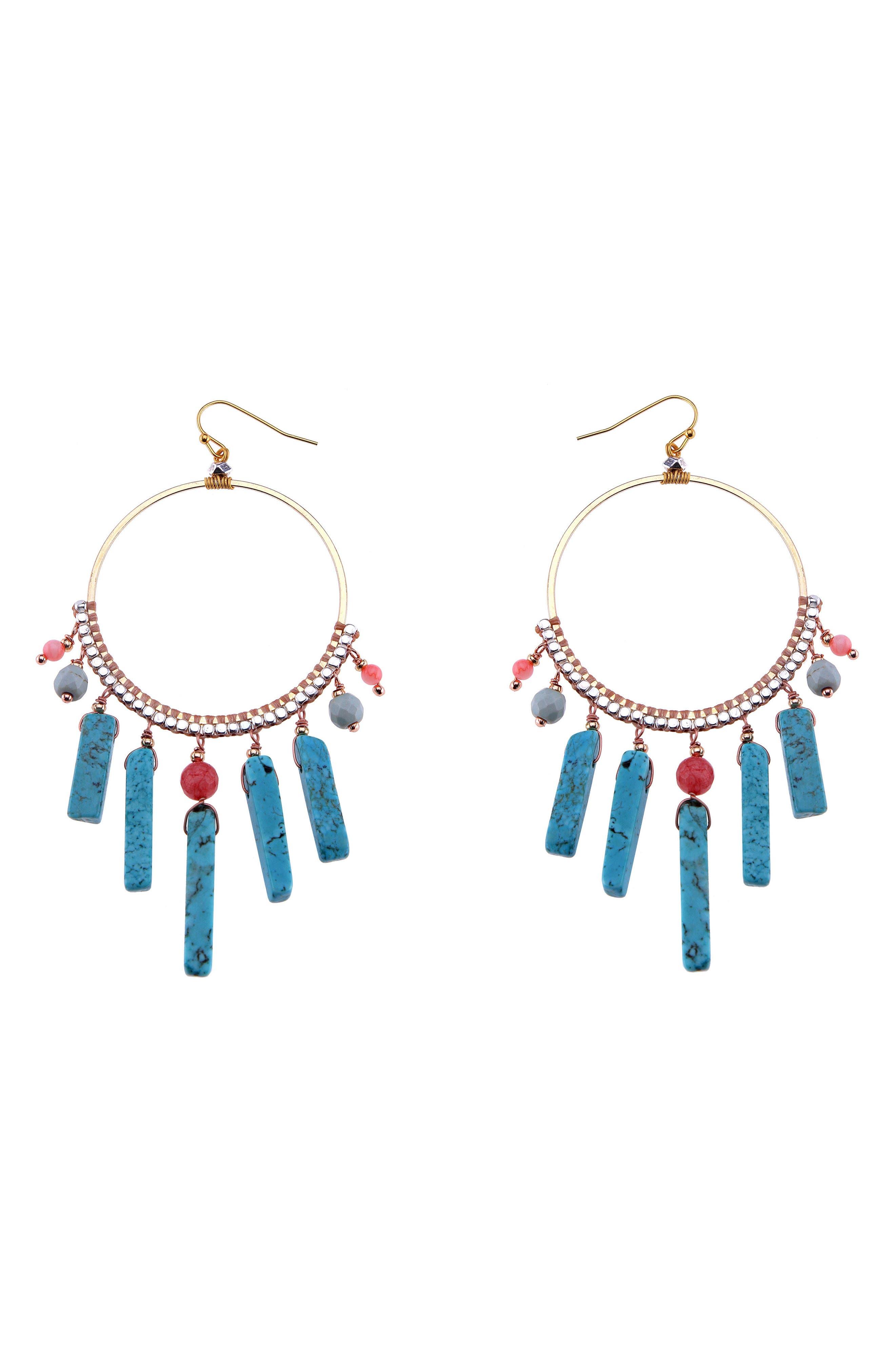Howlite & Crystal Hoop Earrings,                             Main thumbnail 1, color,                             Turquoise