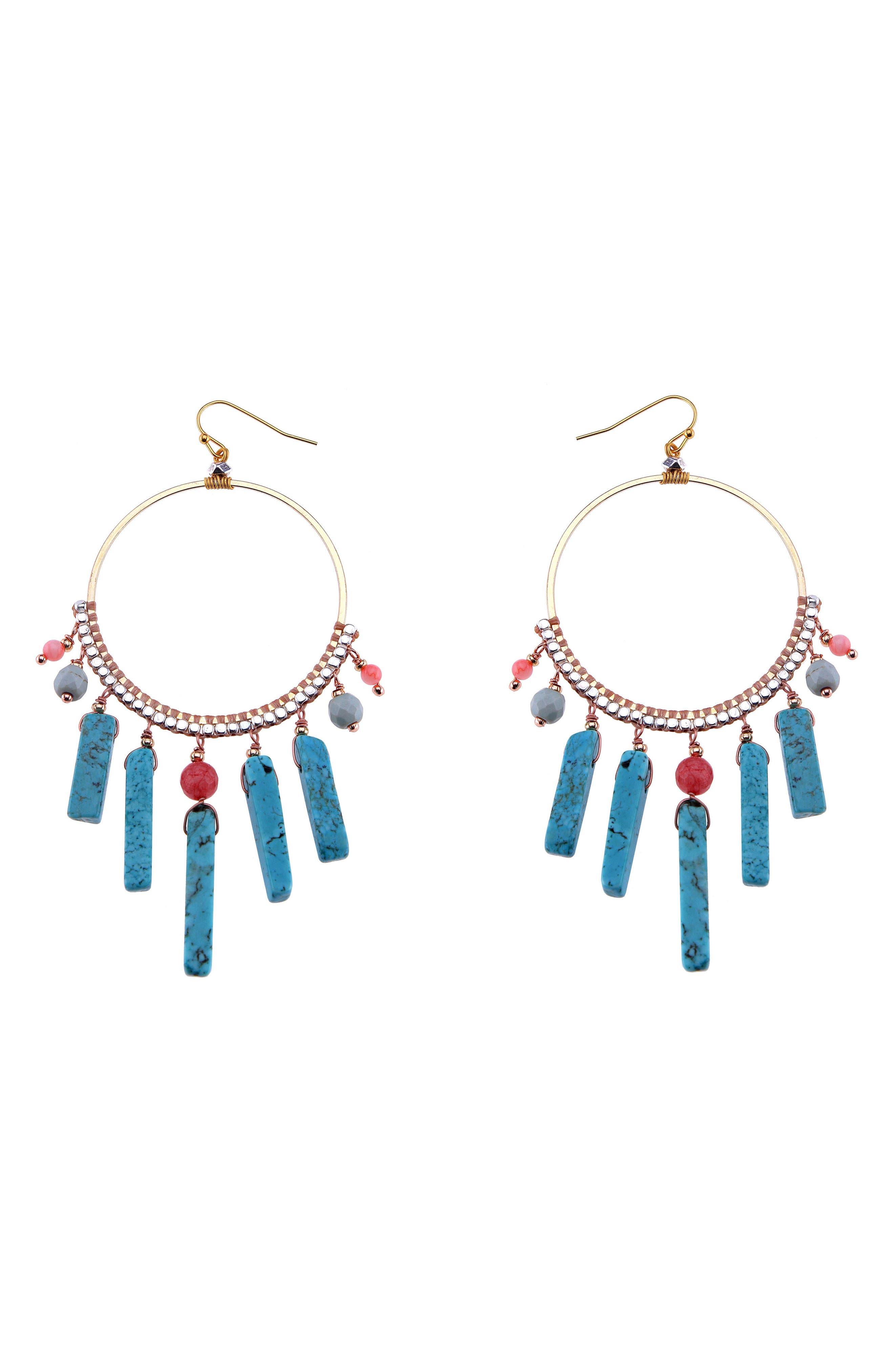 Howlite & Crystal Hoop Earrings,                         Main,                         color, Turquoise