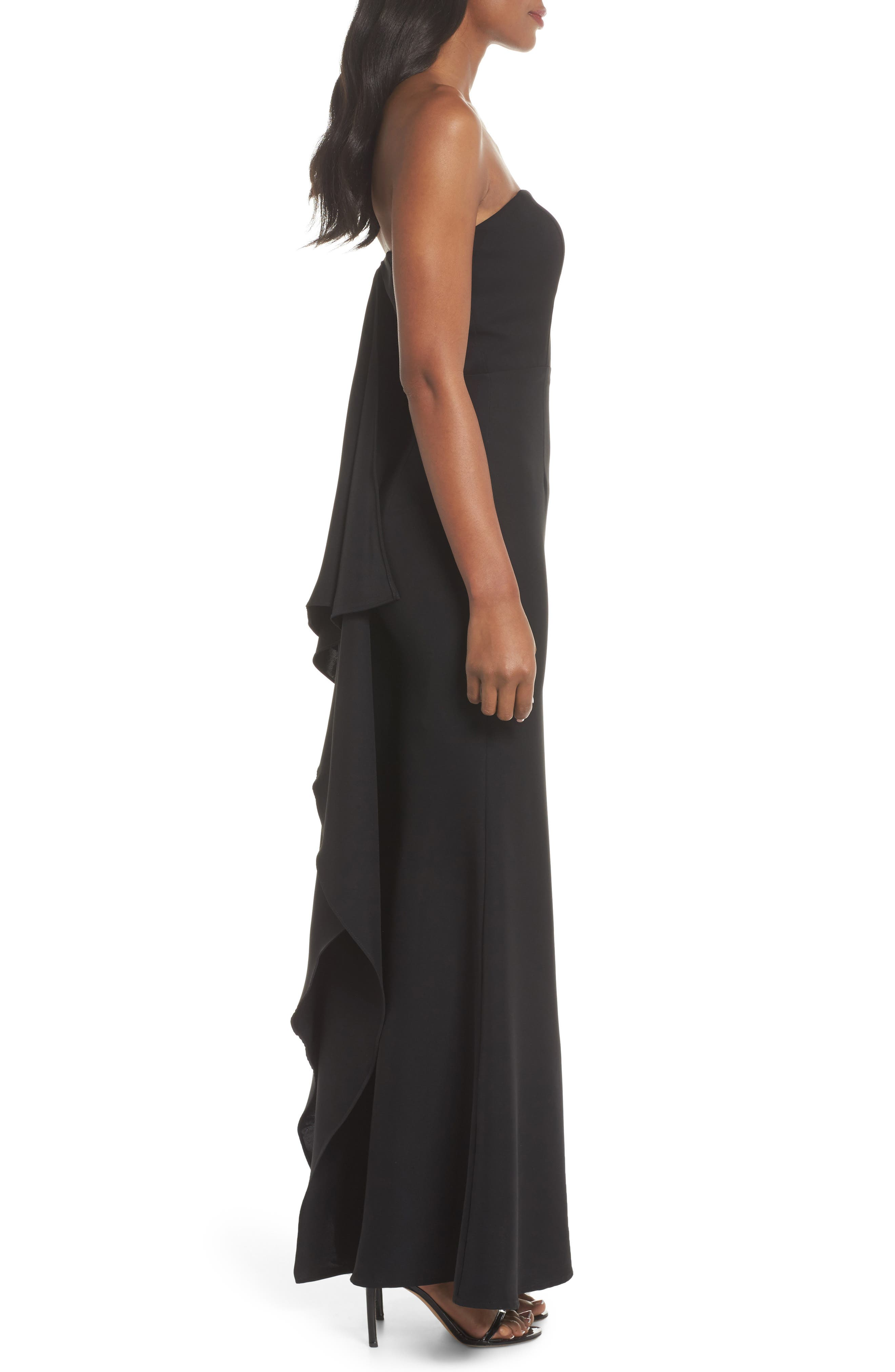Miracle Strapless Gown,                             Alternate thumbnail 3, color,                             Black