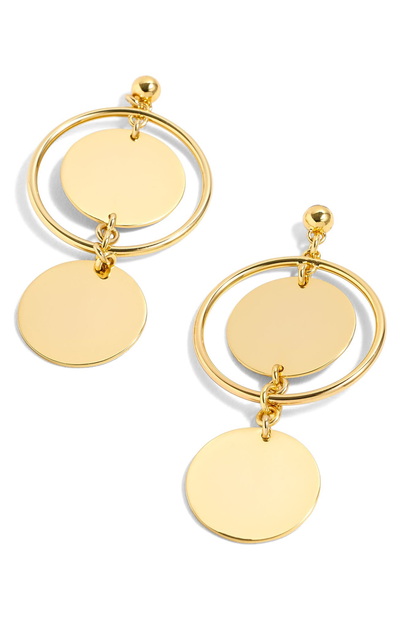 J.Crew Double Disc Drop Earrings,                         Main,                         color, Gold